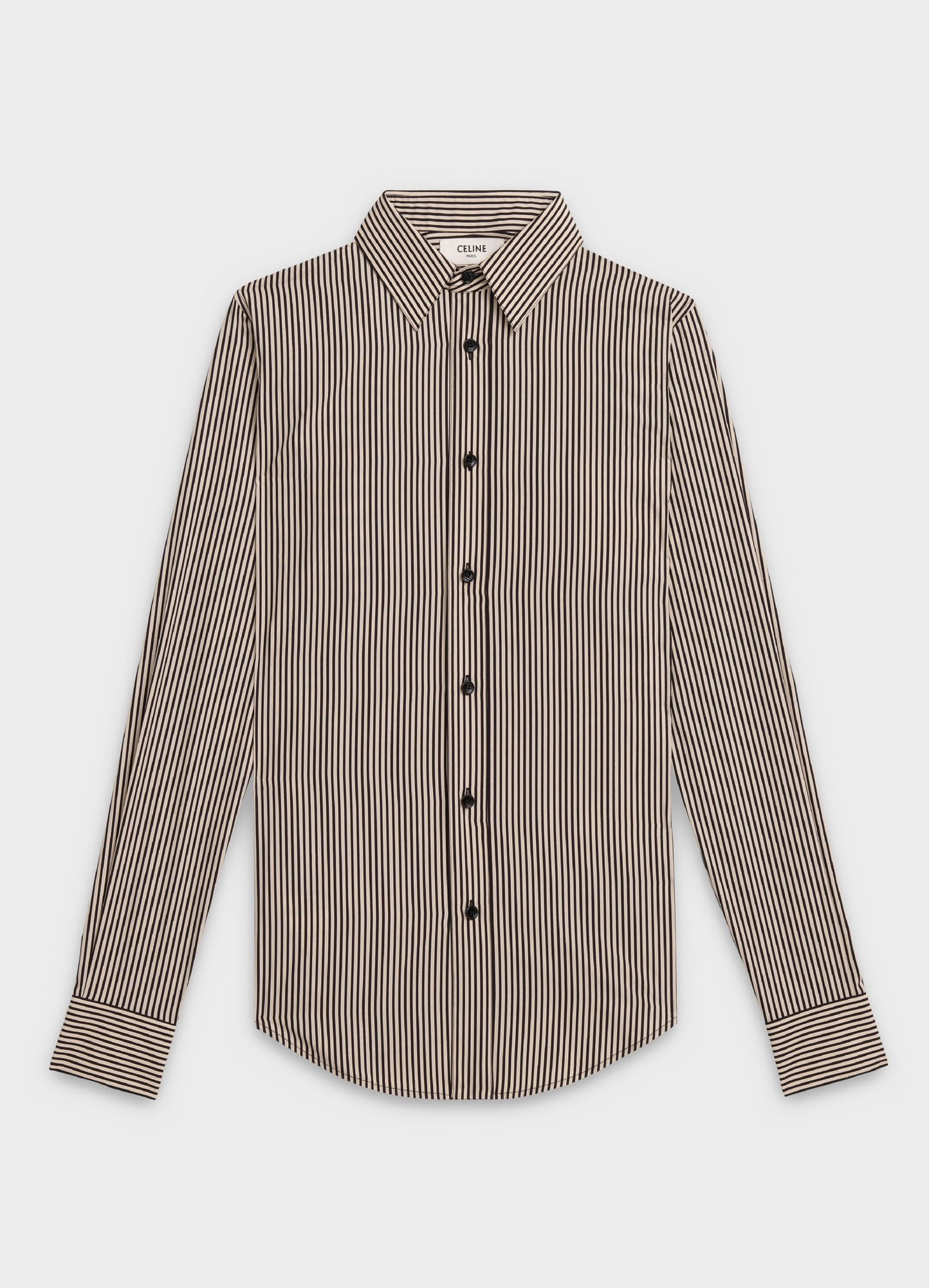 SKINNY SHIRT IN TWO-TONED STRIPED COTTON WITH DRUGSTORE COLLAR   720 USD
