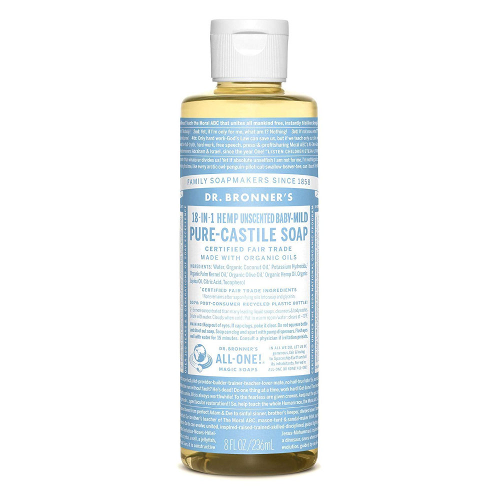 Dr. Bronner's Pure-Castile Liquid Soap - A 3-in-1 soap that will do wonders for your skin and the environment. You won't go back to your old product.Purchase now at amazon.com for $7.79