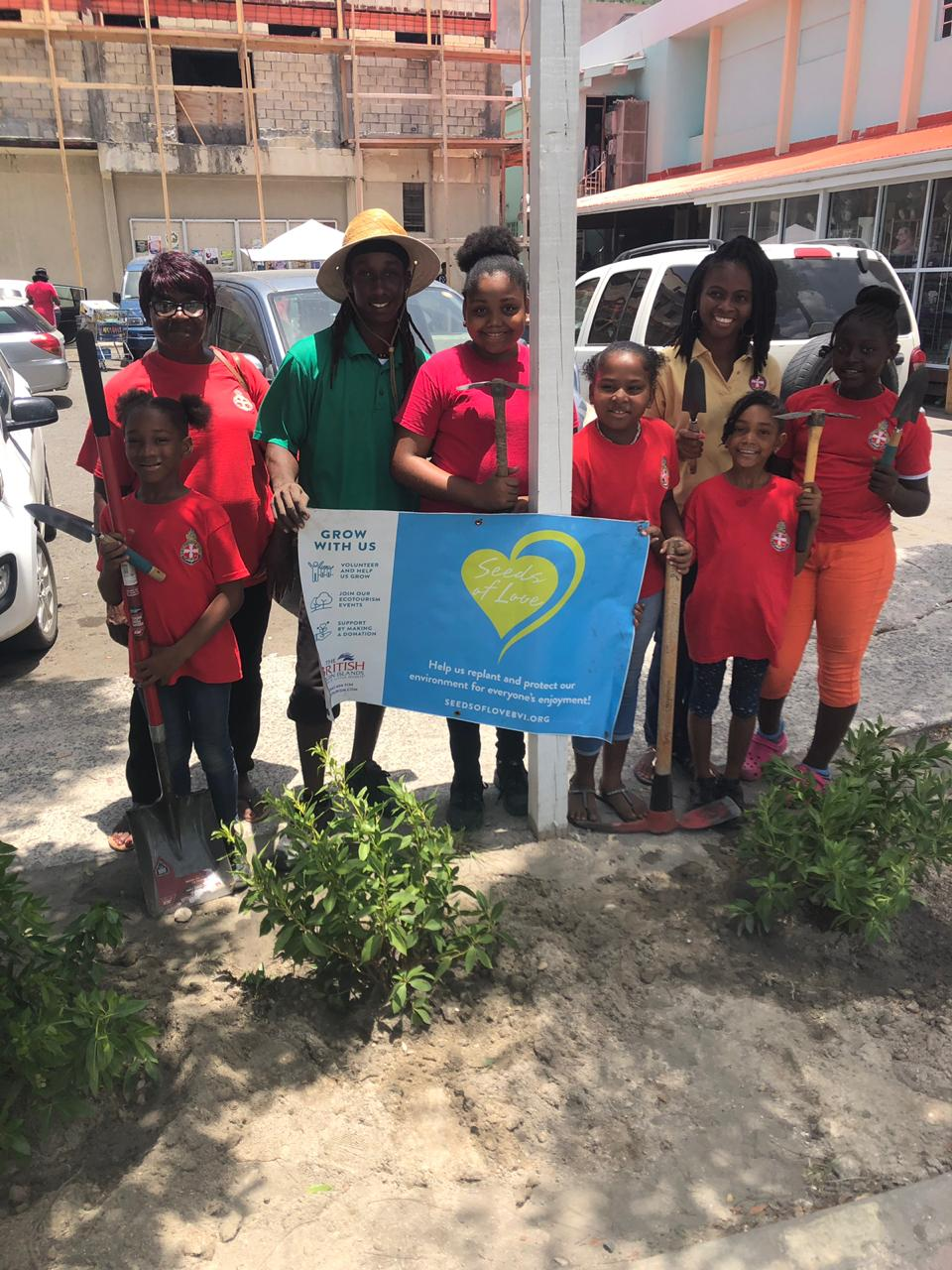 The Girl's Brigade of Tortola planted 8 Green Buttonwood plants in planters on DeCastro Street on June 21. The girls are doing a great job maintaining the plants.