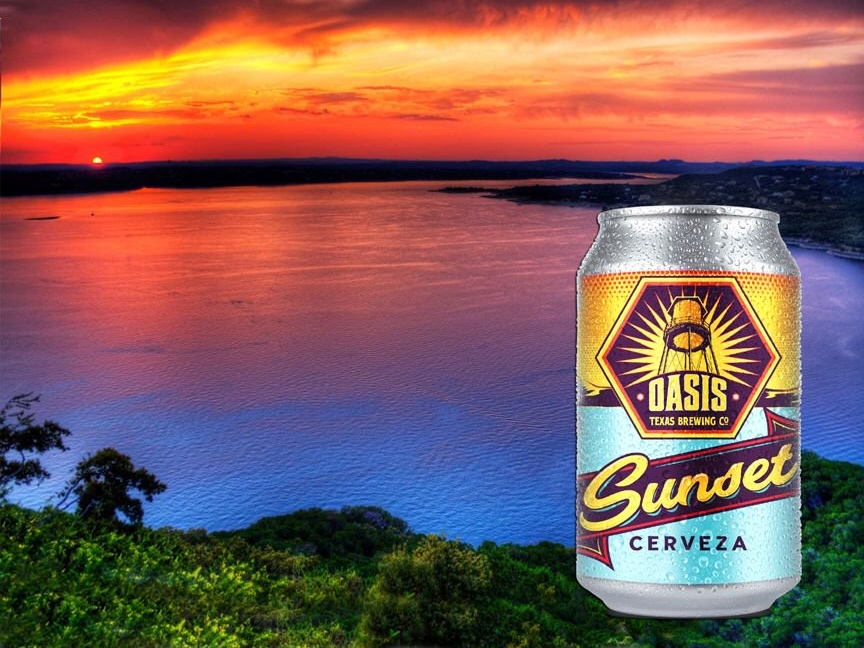 Oasis (Austin, TX)Sunset - American Adjunct Lager style beer brewed by friends in Austin and pairs perfectly with summertime barbecue.