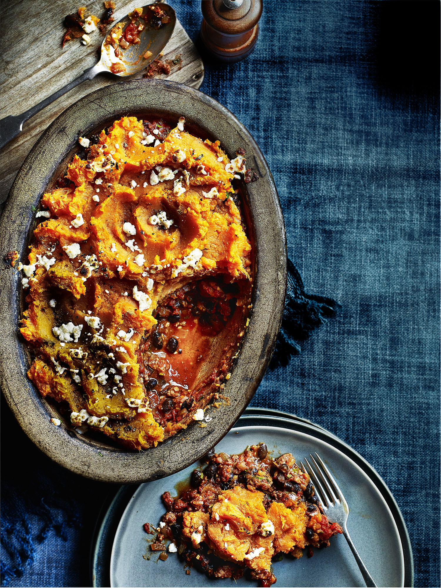 Black Bean Cottage Pie Photograph Kris Kirkham Prop Styling Olivia Wardle Recipe Lizzie Fox