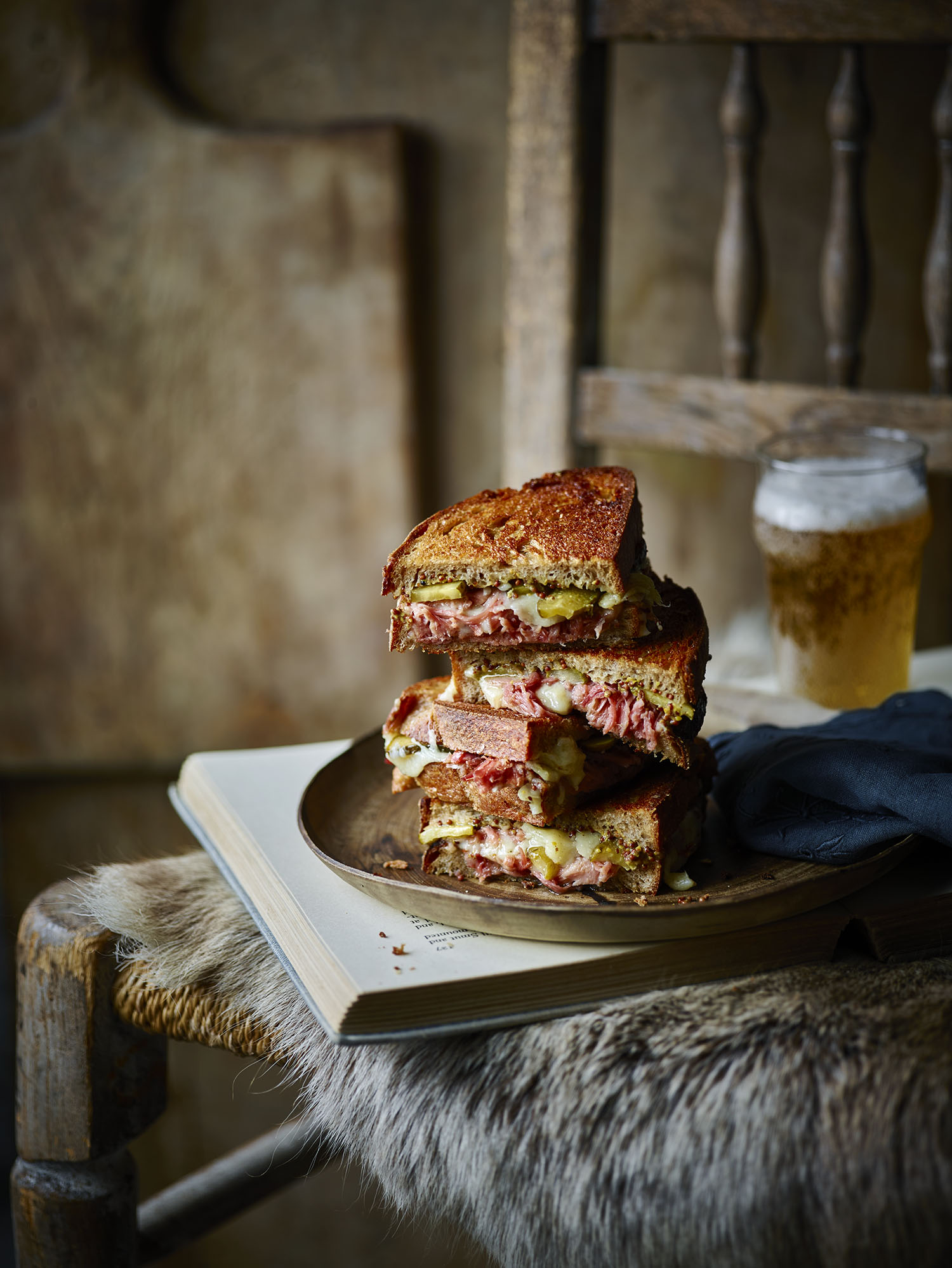 Ham Hock and Gruyere Grilled Cheese Sandwich Photograph Maja Smend Prop Styling Olivia Wardle