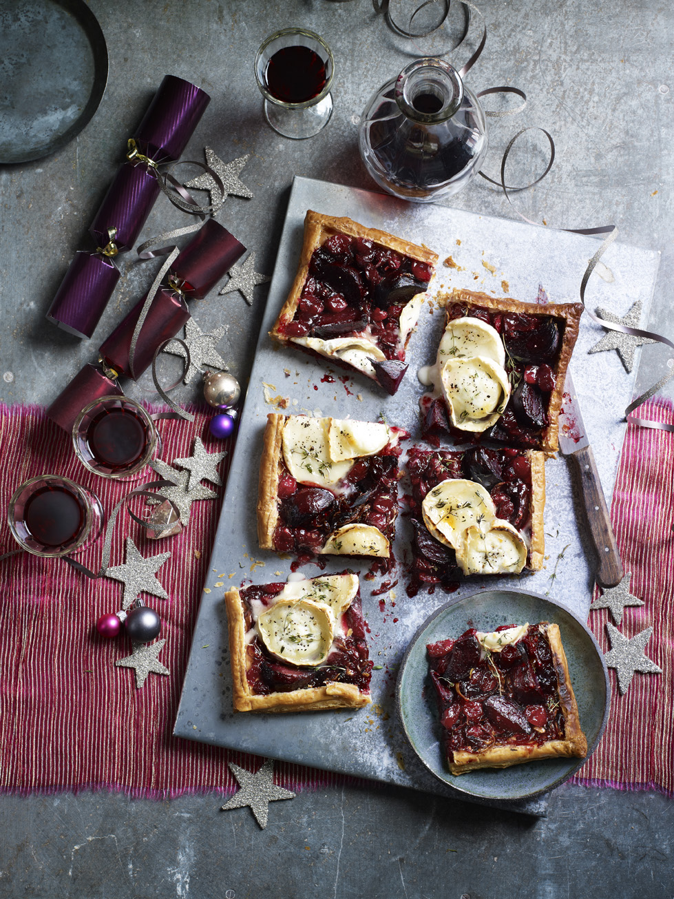 Beetroot, Cranberry & Goats cheese tart Photograph Kate Whitaker Prop Styling Olivia Wardle