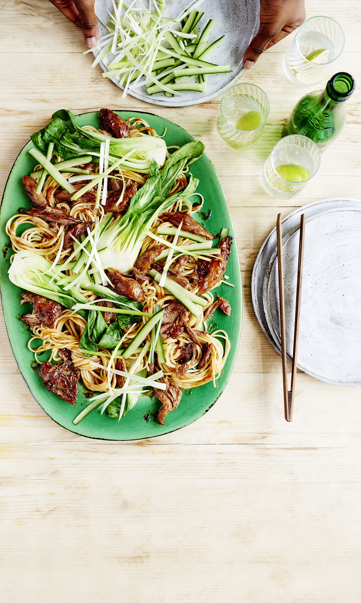 Crispy Duck Noodles Photograph Charlie Richards Prop Styling Davina Perkins