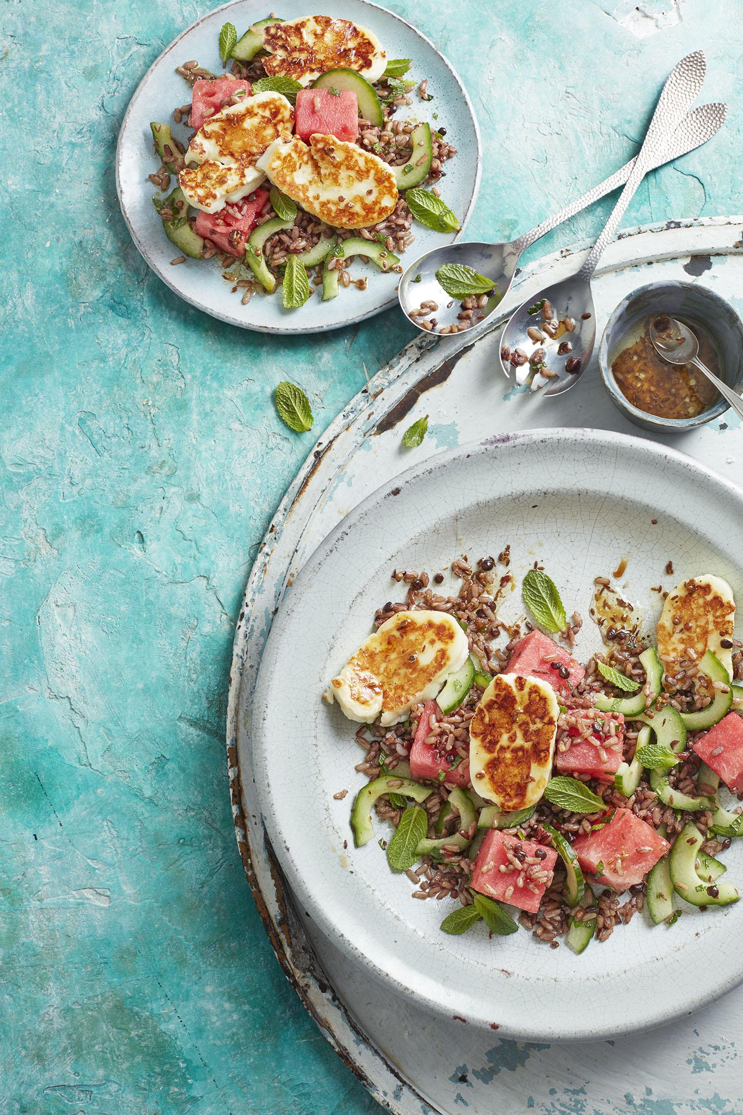 Halloumi Watermelon Salad Photograph Adrian Lawrence Prop Styling Olivia Wardle Recipe Gabriella English