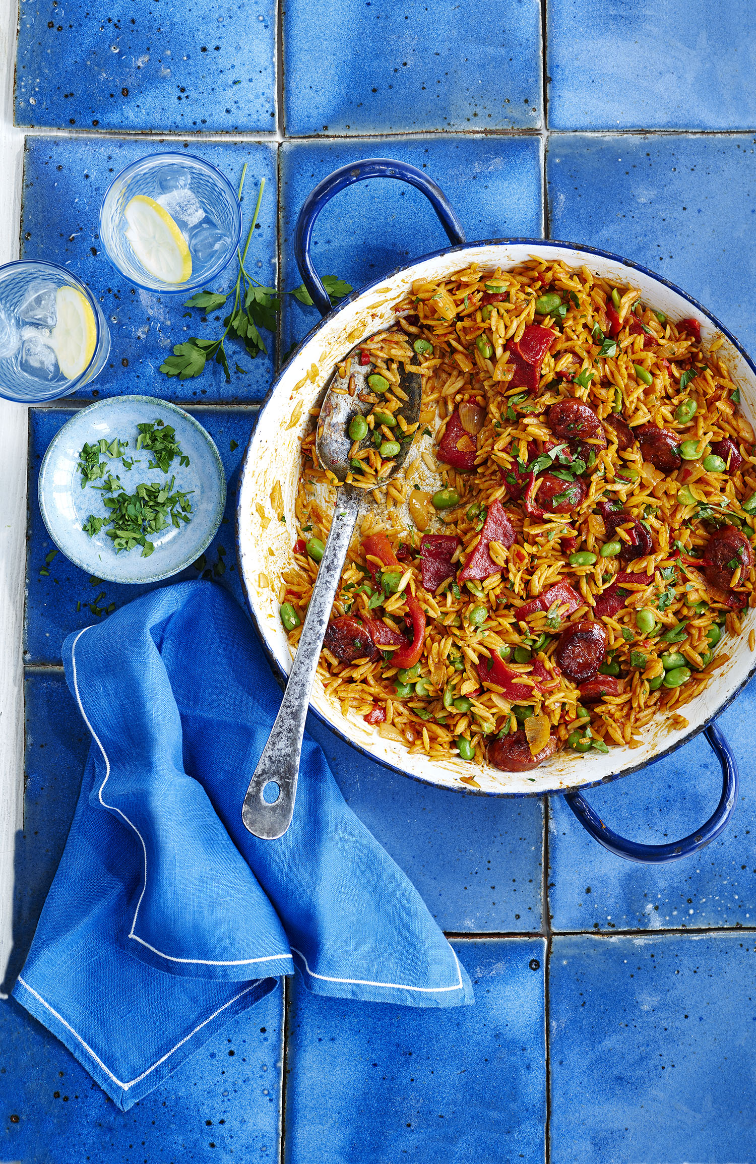 Orzo Paella Photograph Charlie Richards Prop Styling Tonia Shuttleworth Recipe Olivia Spurrell