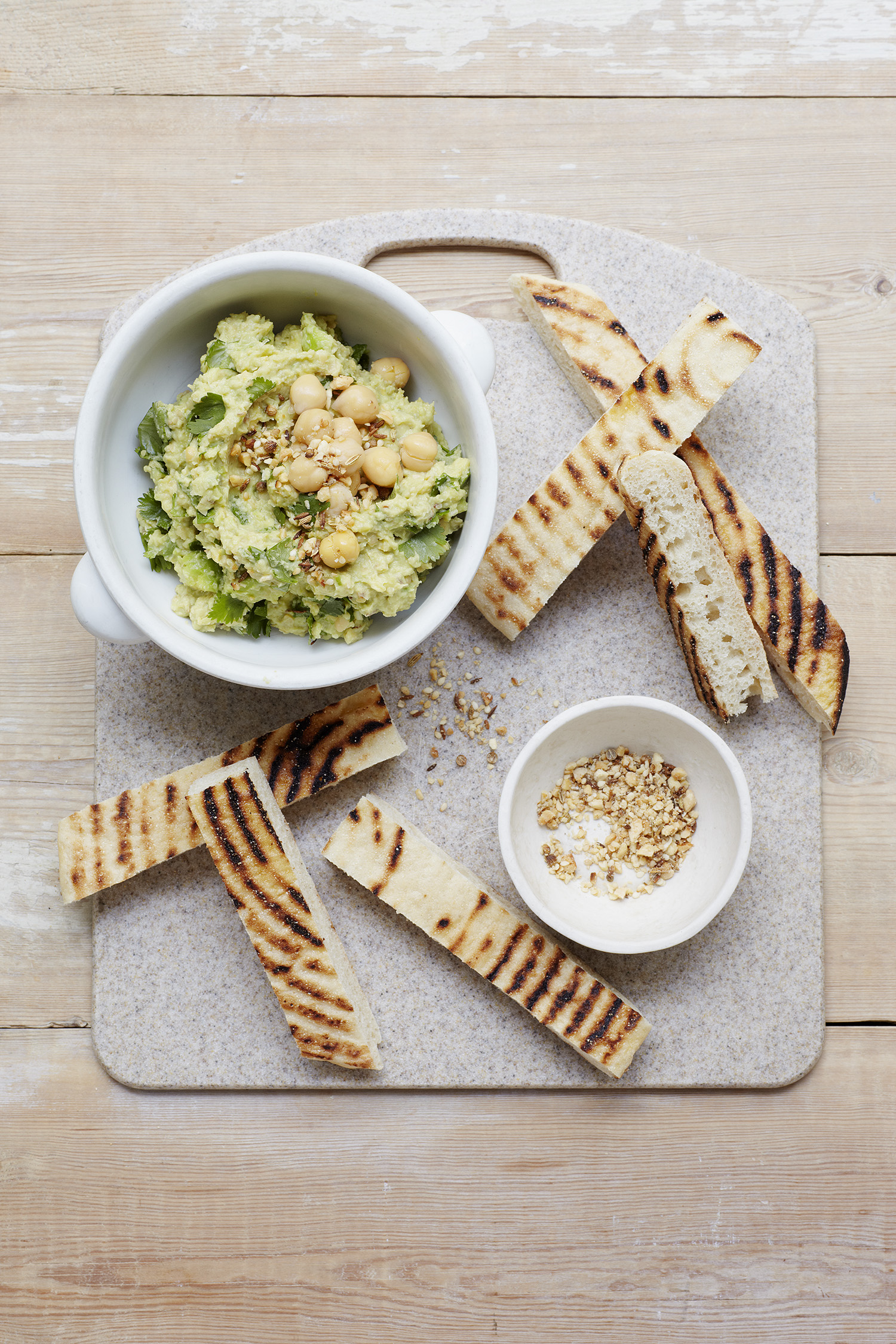 Avocado Hummus and Roasted Dukkah Photograph Clare Winfield, Prop Styling Wei Tang (from The Goodness of Avocado)