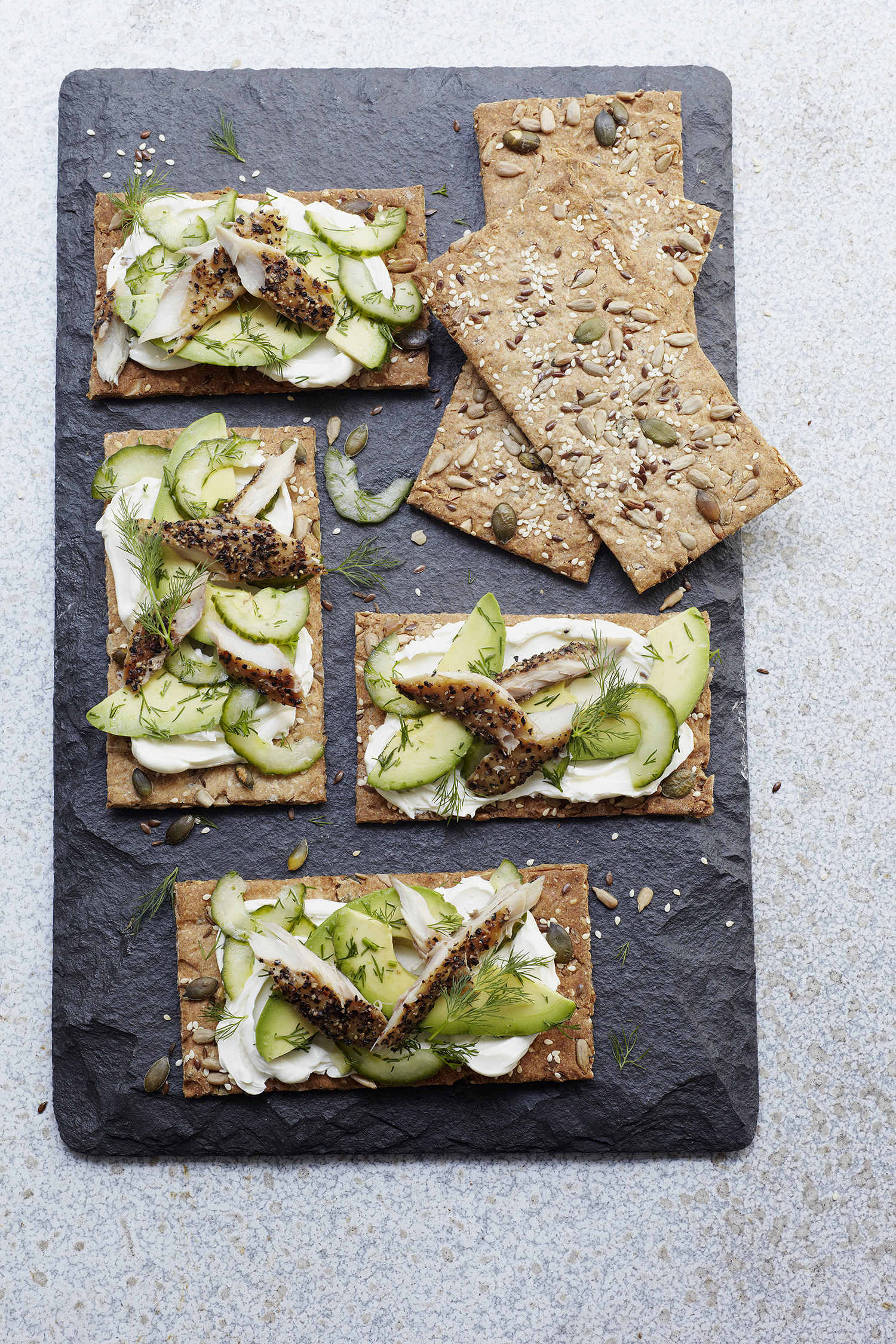 Crispbread, Mackerel & Dill-Pickled Avo Photograph Clare Winfield, Prop Styling Wei Tang (from The Goodness of Avocado)