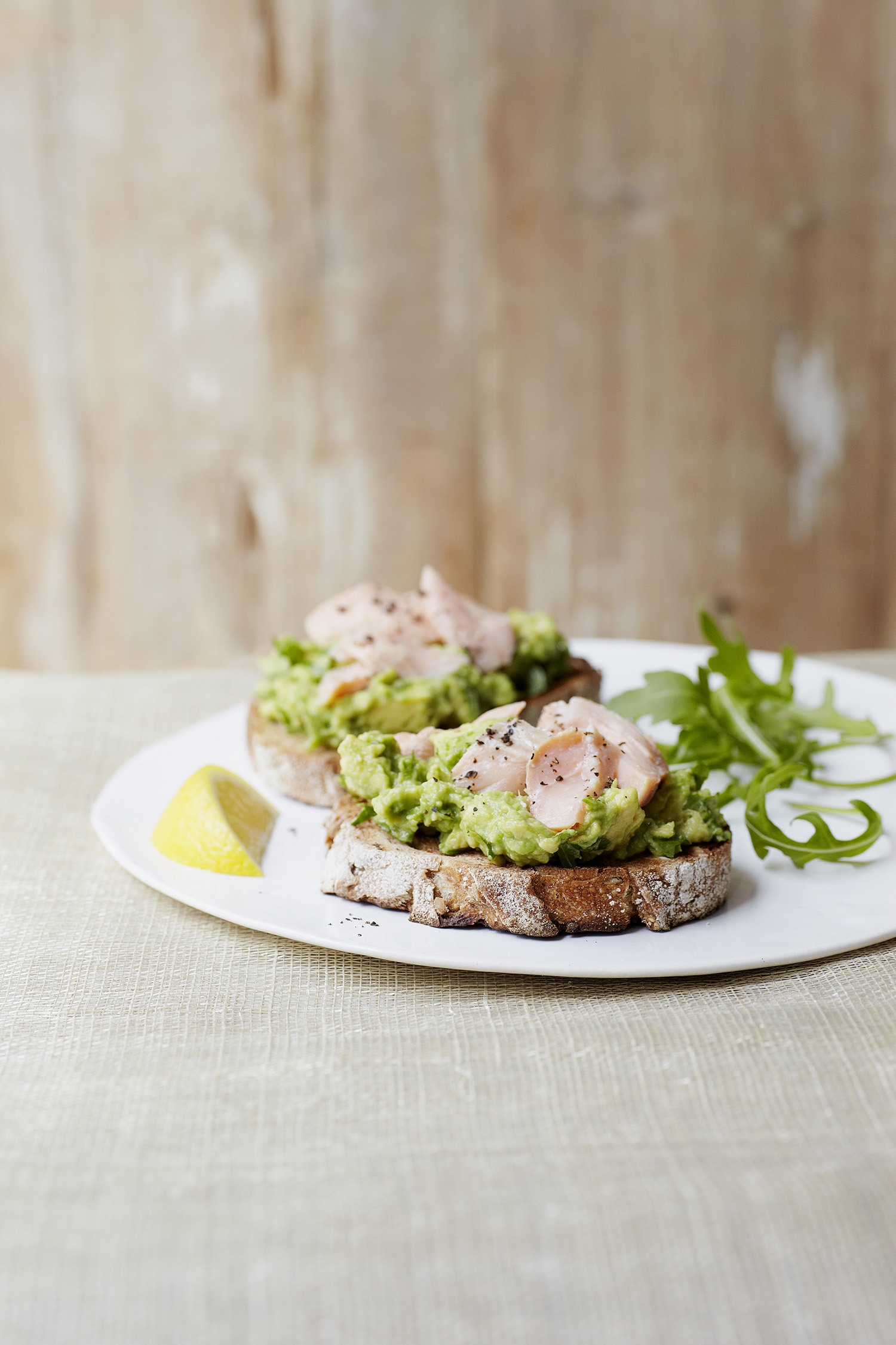Lemony Avo with Rocket and Trout Photograph Clare Winfield, Prop Styling Wei Tang (from The Goodness of Avocado)