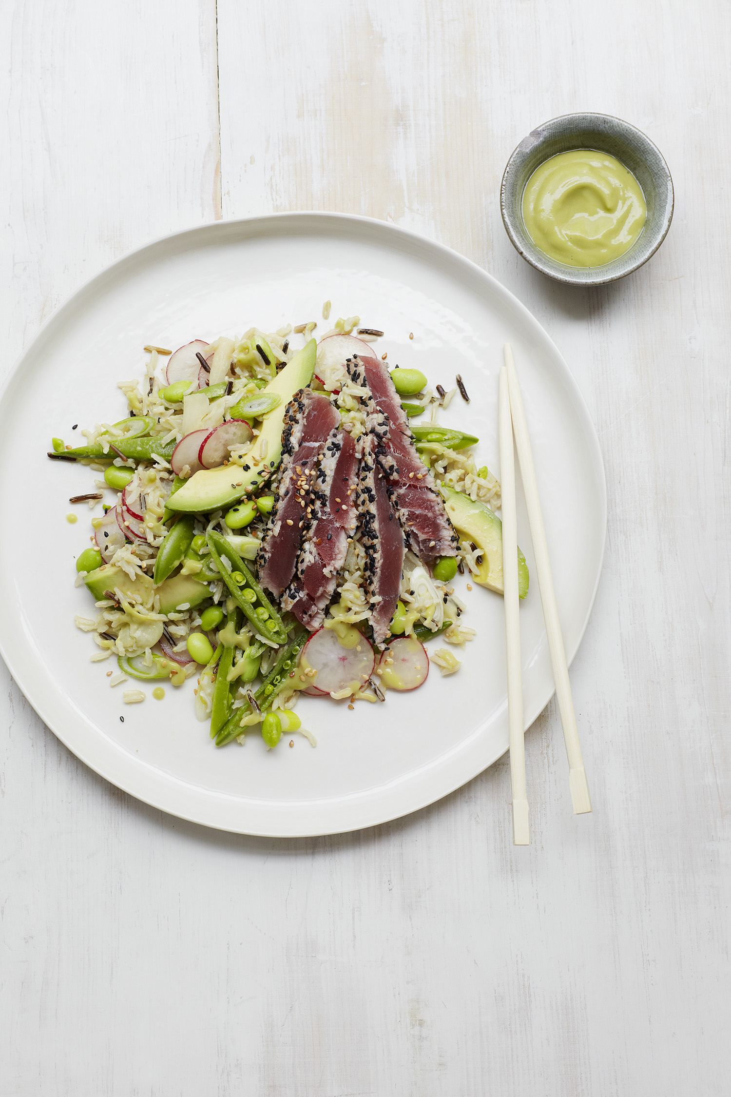 Tuna Sushi Salad and Wasabi Avo Dressing Photograph Clare Winfield, Prop Styling Wei Tang (from The Goodness of Avocado)
