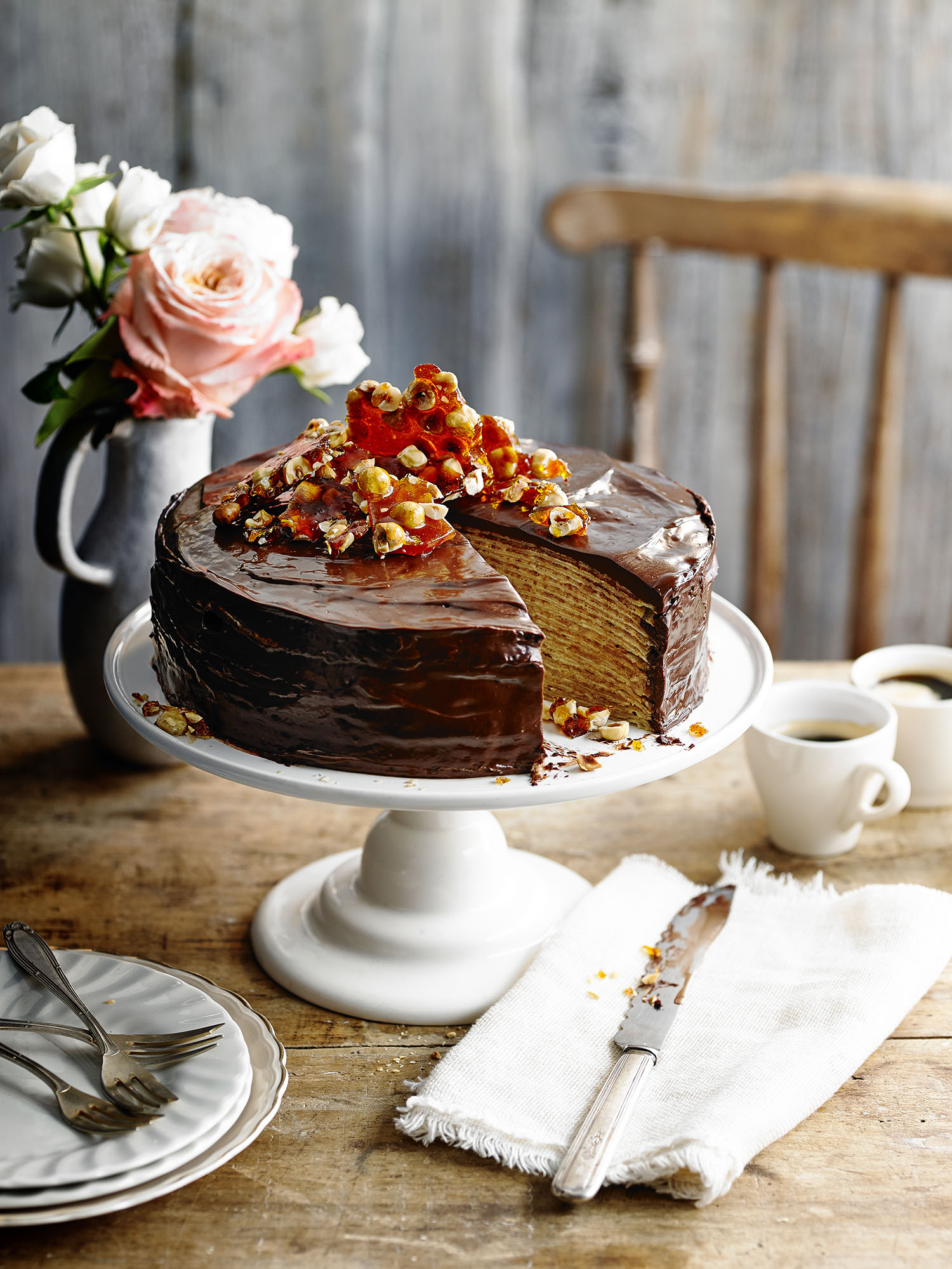 Chocolate Cinnamon Crepe Cake Photograph Alex Luck Prop Styling Davina Perkins