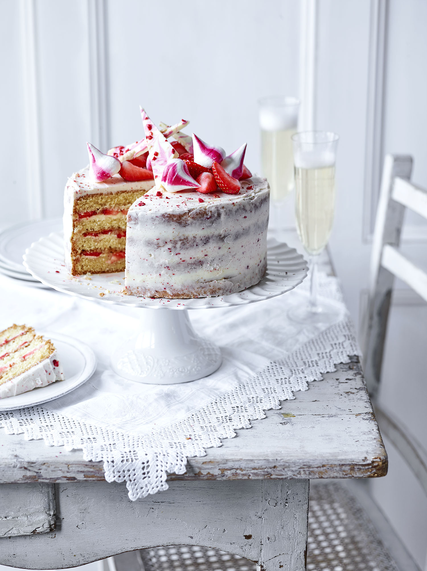 Strawberry Celebration Cake	Photograph Maja Smend Prop Styling Olivia Wardle