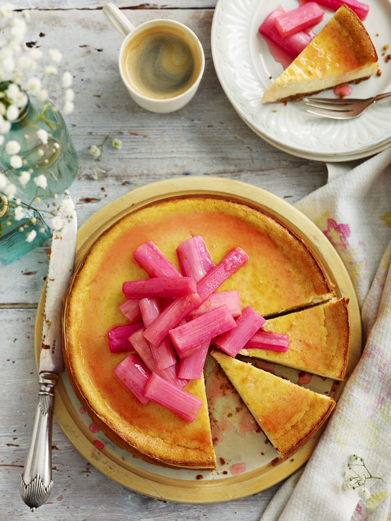 Rhubarb New York Baked Cheesecake Photograph Gareth Morgans Prop Styling Tonia Shuttleworth