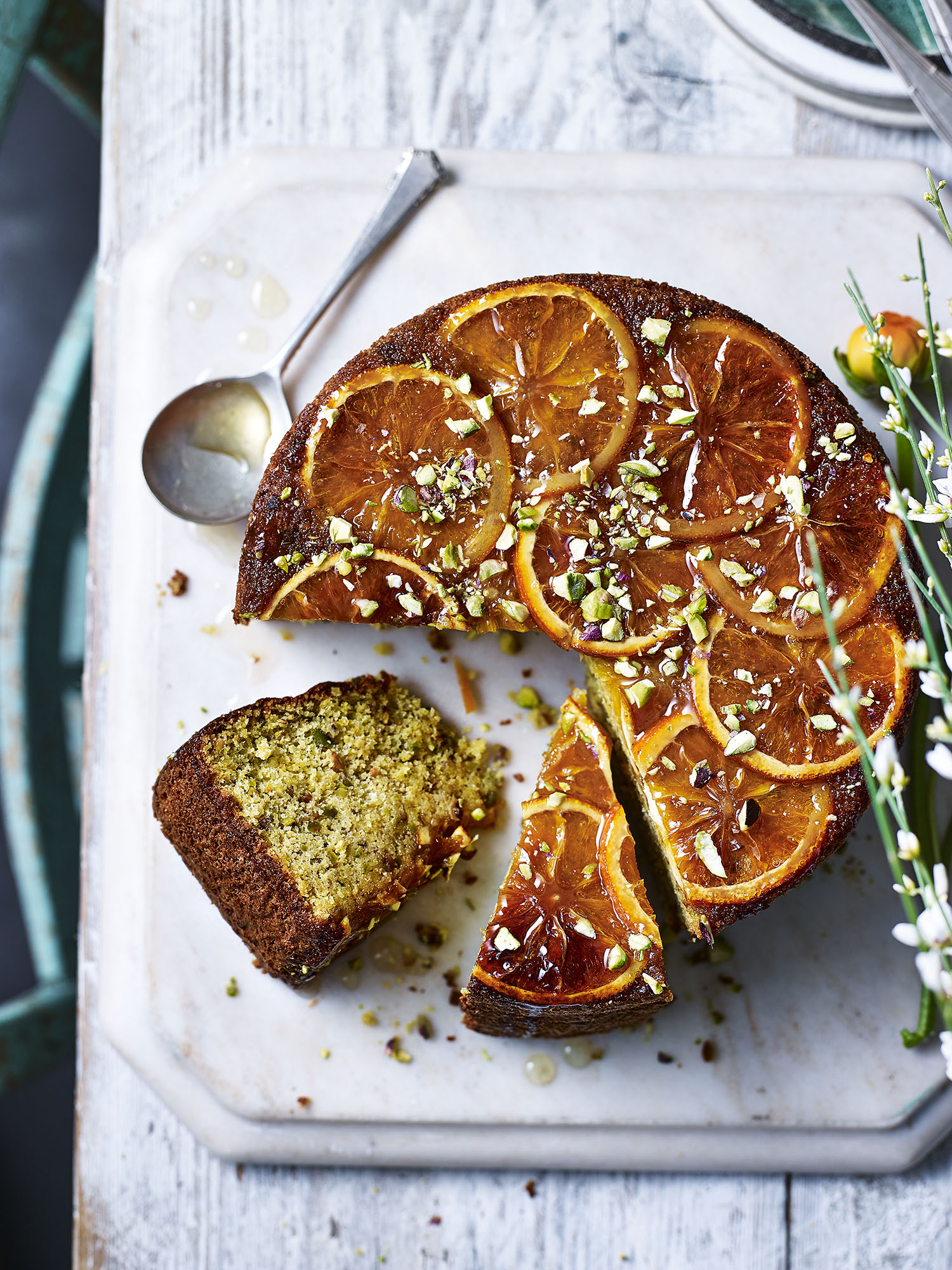 Orange and Pistachio Cake Photograph Toby Scott Prop Styling Davina Perkins Recipe Lizzie Fox