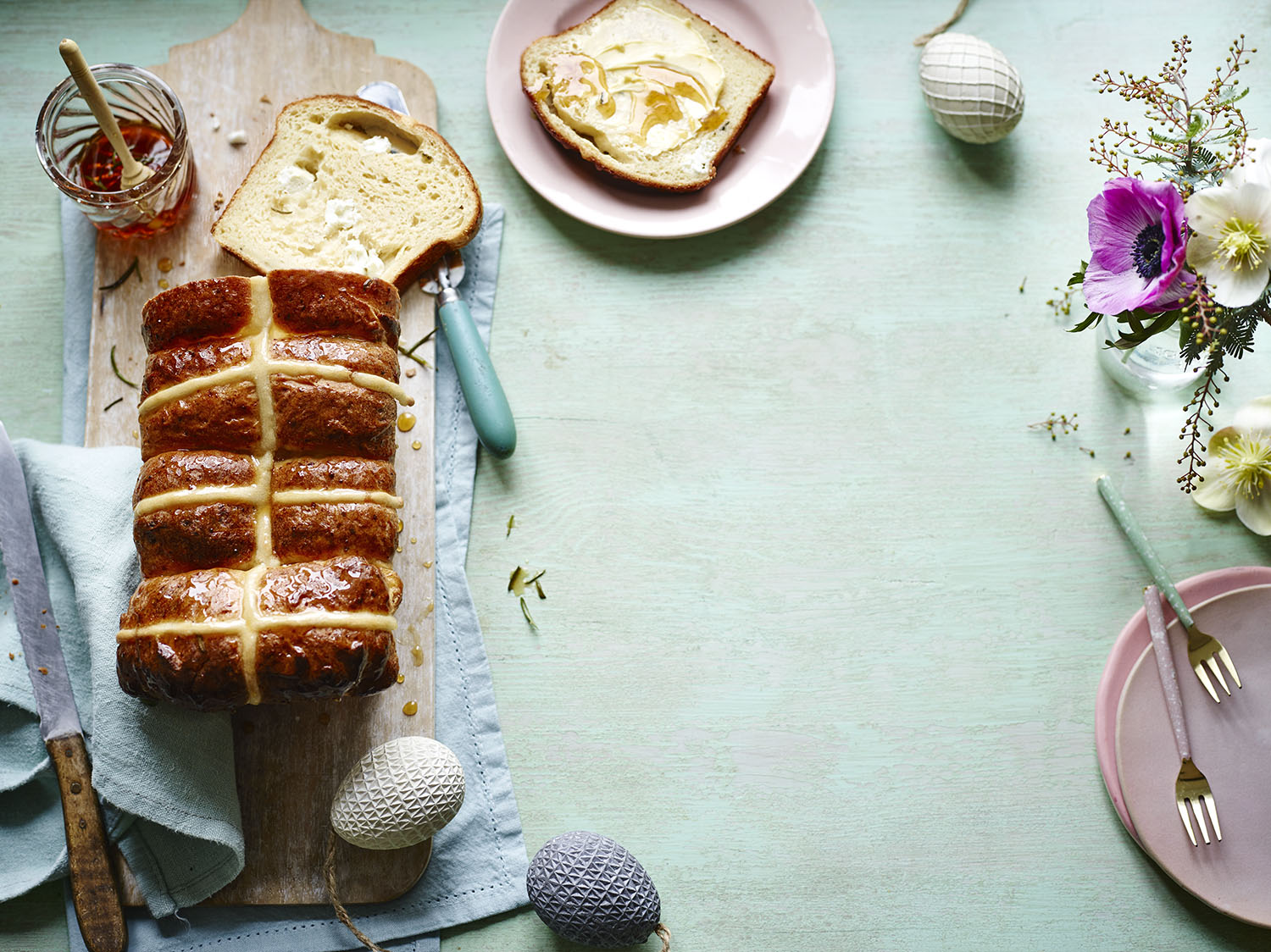 Hot Cross Bun Loaf	Photograph Maja Smend Prop Styling Olivia Wardle Recipe Alice Shields
