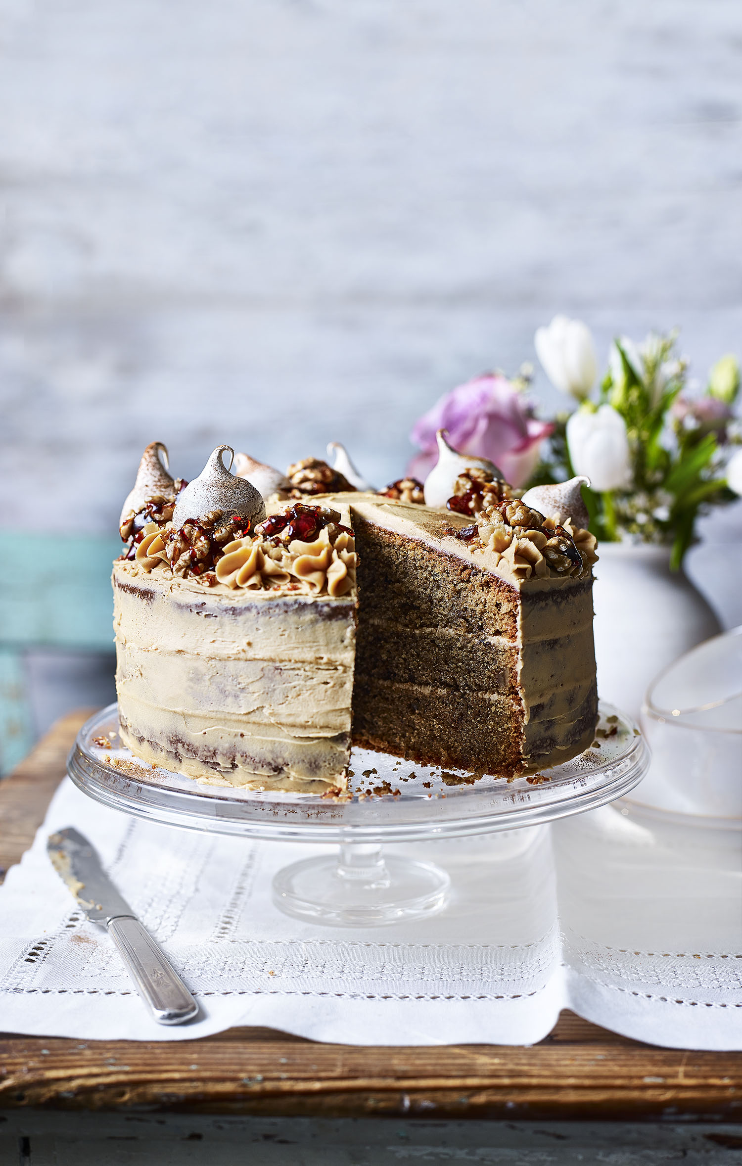 Coffee & Walnut Cake Photograph Toby Scott Prop Styling Davina Perkins Recipe Lizzie Fox