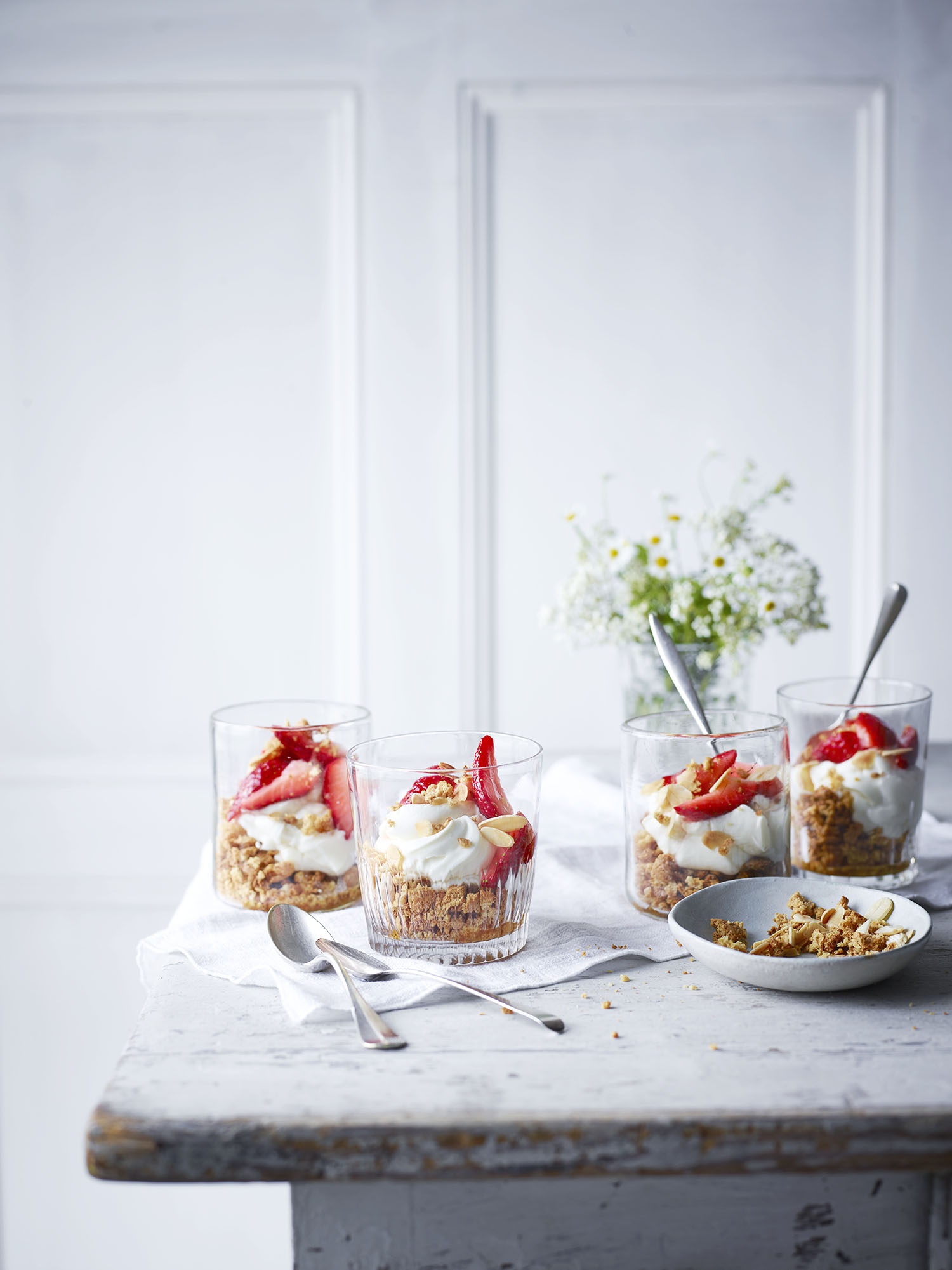 Strawberry Cheesecake Pots	Photograph Maja Smend Prop Styling Olivia Wardle Recipe Olivia Spurrell