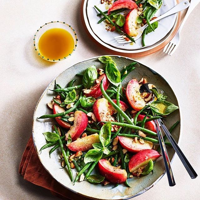 Really loved styling this yummy White Peach, fragolini beans and smoked almond salad recipe by @angelacooking @cafemurano in today's @sundaytimesfood  Such a great set of recipes from chefs @wildernesshq  Lovely working with @leannebracey @agathegits @kriskirkham @hollyhawthornebakes 👌team! 🙏 repost @sundaytimesfood