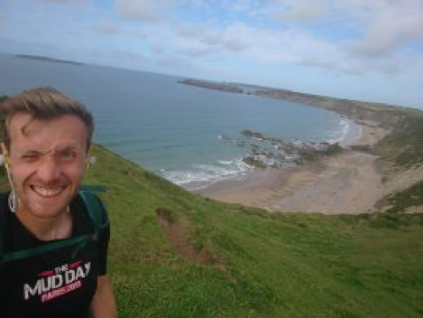 Ben running a mile every day for 10 days down the Carmarthenshire coast