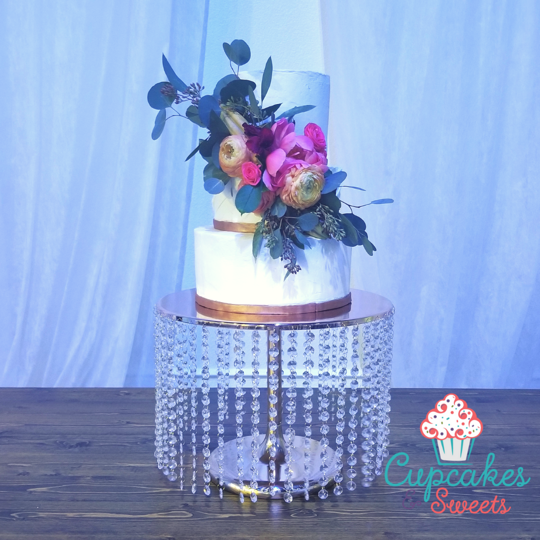 Painted Fondant Ribbon Buttercream Wedding Cake By Cupcakes and Sweets LLC