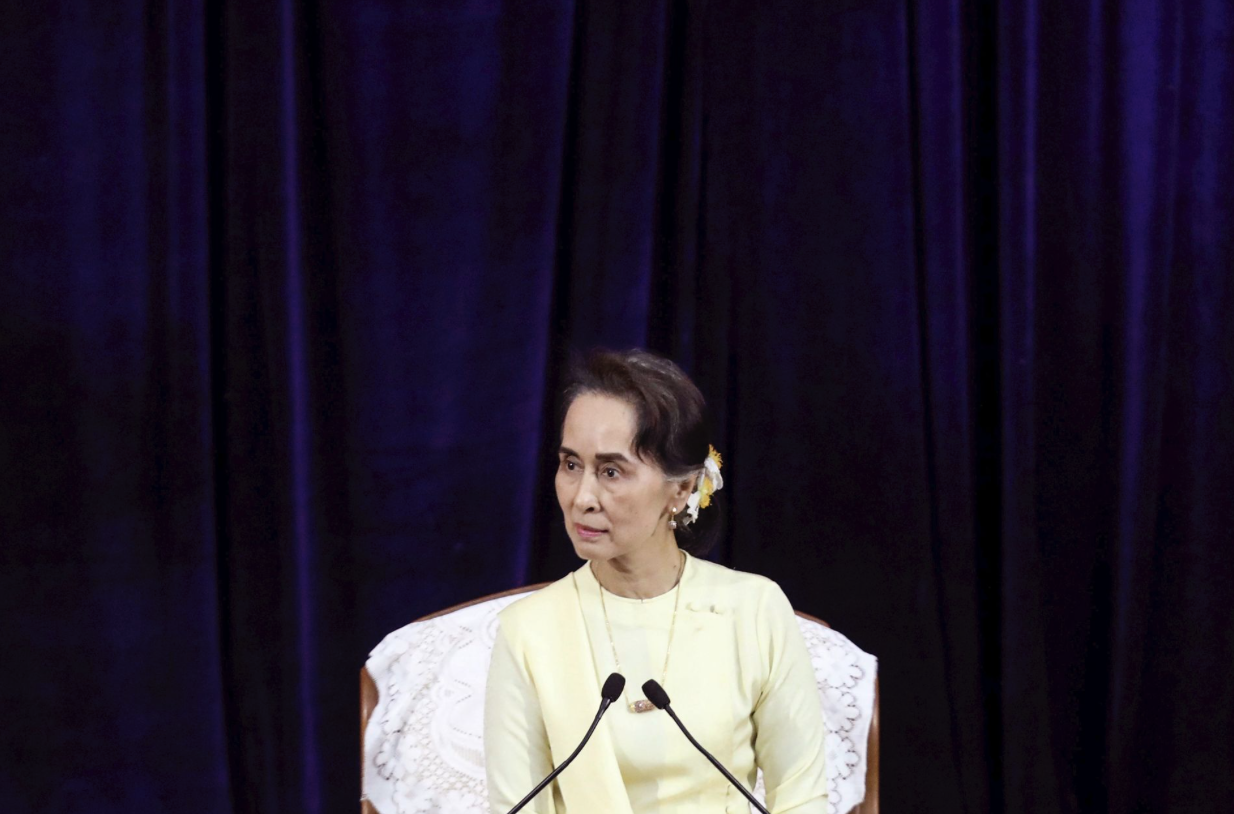 Aung San Suu Kyi, the de facto leader of Myanmar, speaks at an event at Yangon University on Tuesday, Aug. 28, 2018.