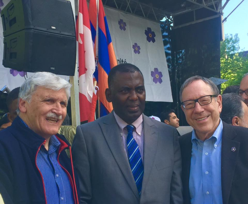 "A photo taken on the occasion of the celebration of the 375th anniversary of Montreal as a ""Rights City"" in May, 2017, where Biram was invited by the RWCHR to join as a keynote speaker. From left to right: Romeo Dallaire, Biram dah Abeid and RWCHR Chair and Founder Irwin Cotler."