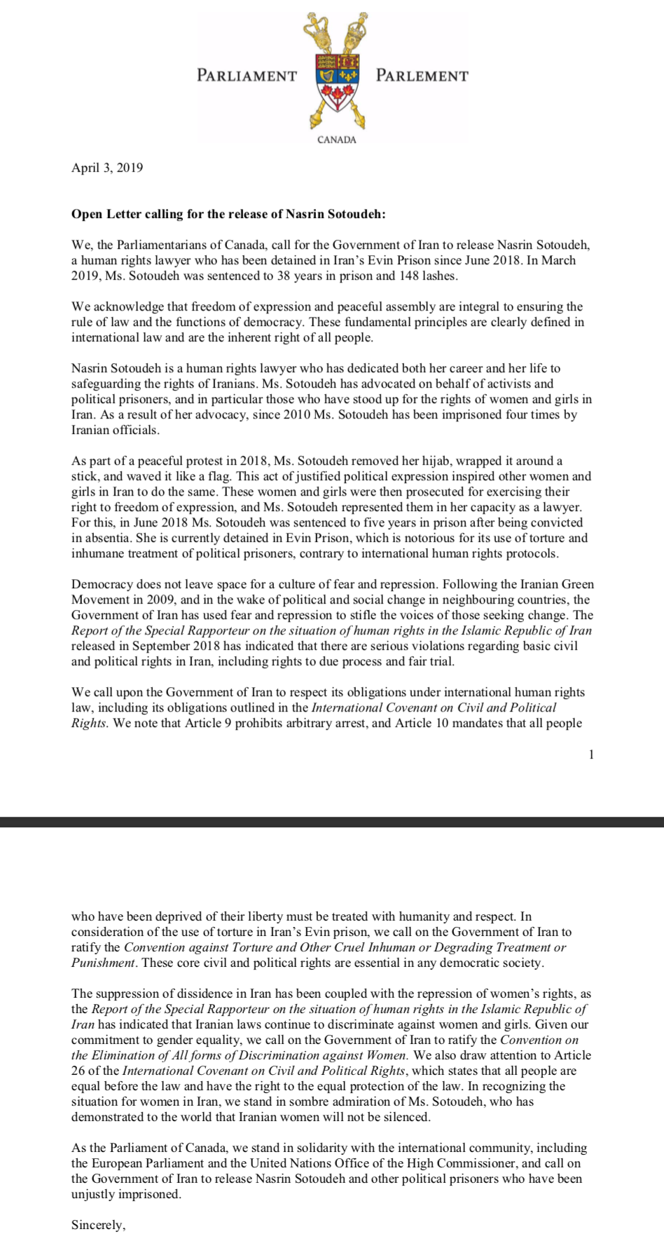 Canadian Parliamentarians Open Letter re Nasrin Sotoudeh.png