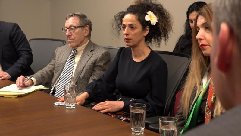 Pictured, from right to left: Professor Irwin Cotler, Masih Alineajd, and Shaparak Shajarizadeh.