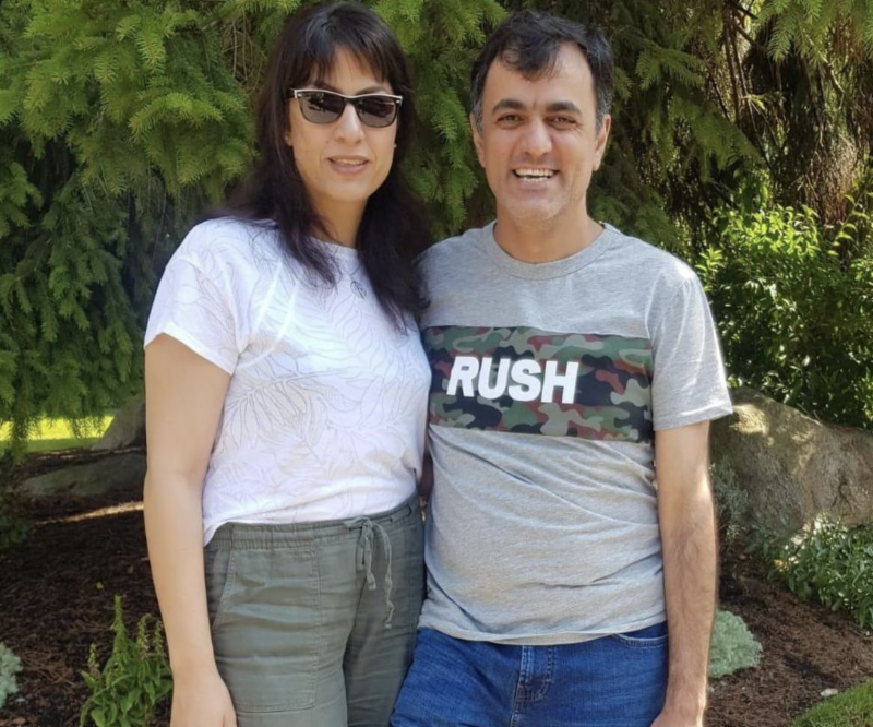 Saeed poses with his sister Maryam Malekpour on Saturday, August 3, 2019, after landing in Vancouver, British Columbia, Canada.