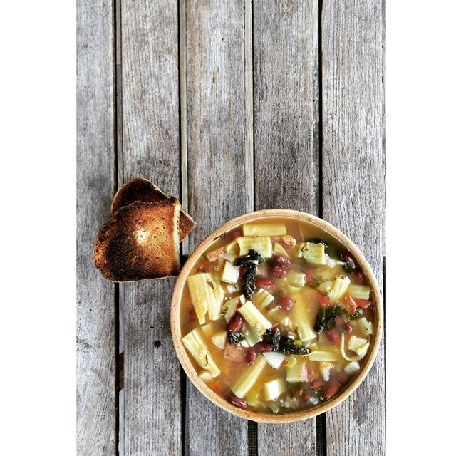 minestrone with toast.