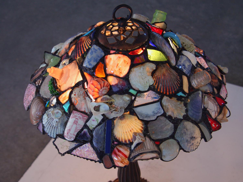 "HIGHLAND LIGHT HOUSE LAMP ~ 18"" diam. Repurposed glass, pottery shards and beach shells"
