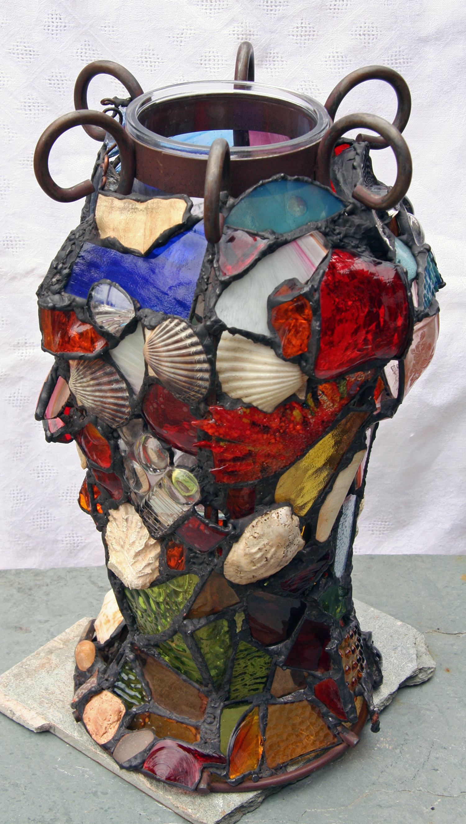 "ALL ENCOMPASSING VASE ~ 24""x10"" Repurposed glass and beach treasures"