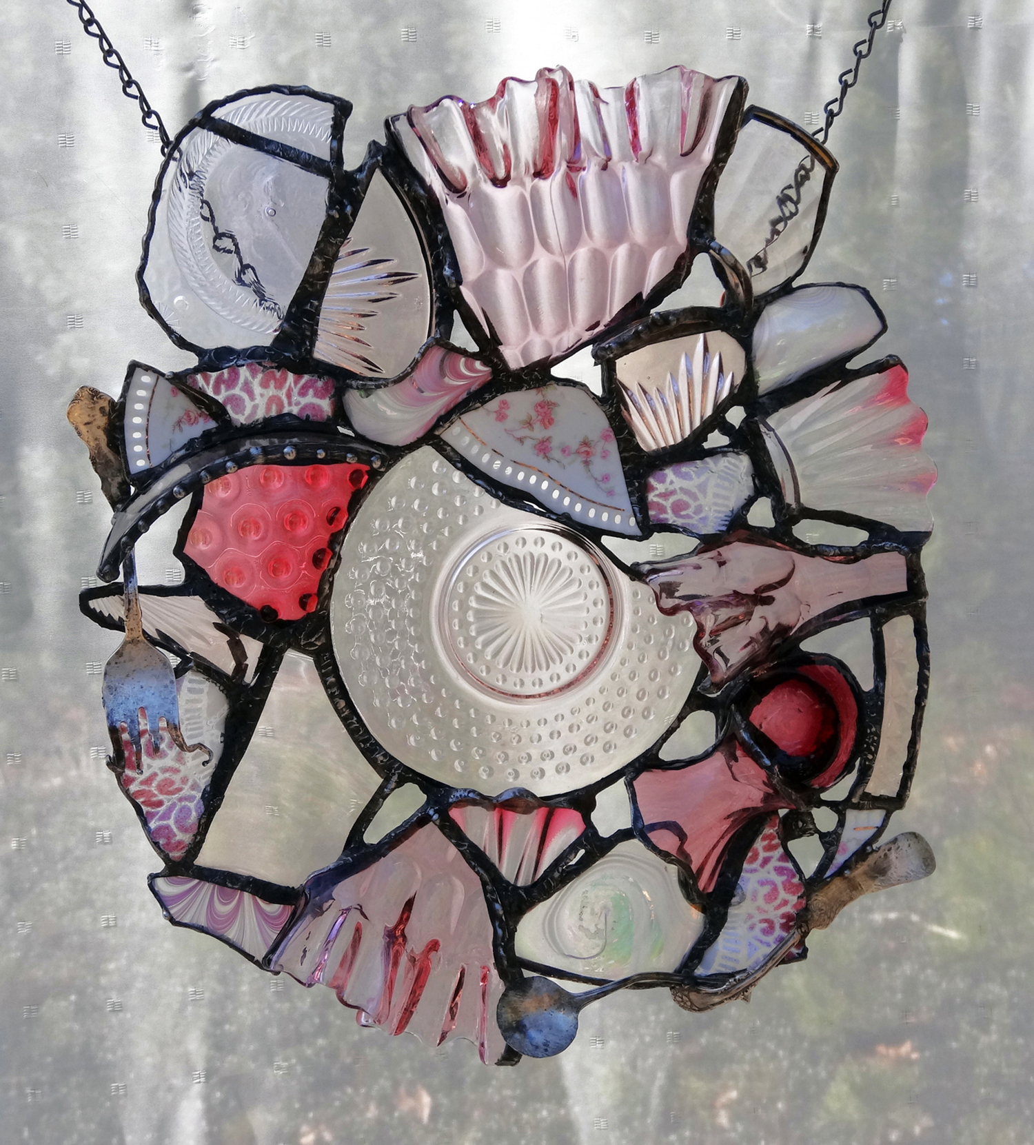 """BLUSH ~ 16""""x13"""" Repurposed glass and metal (SOLD)"""