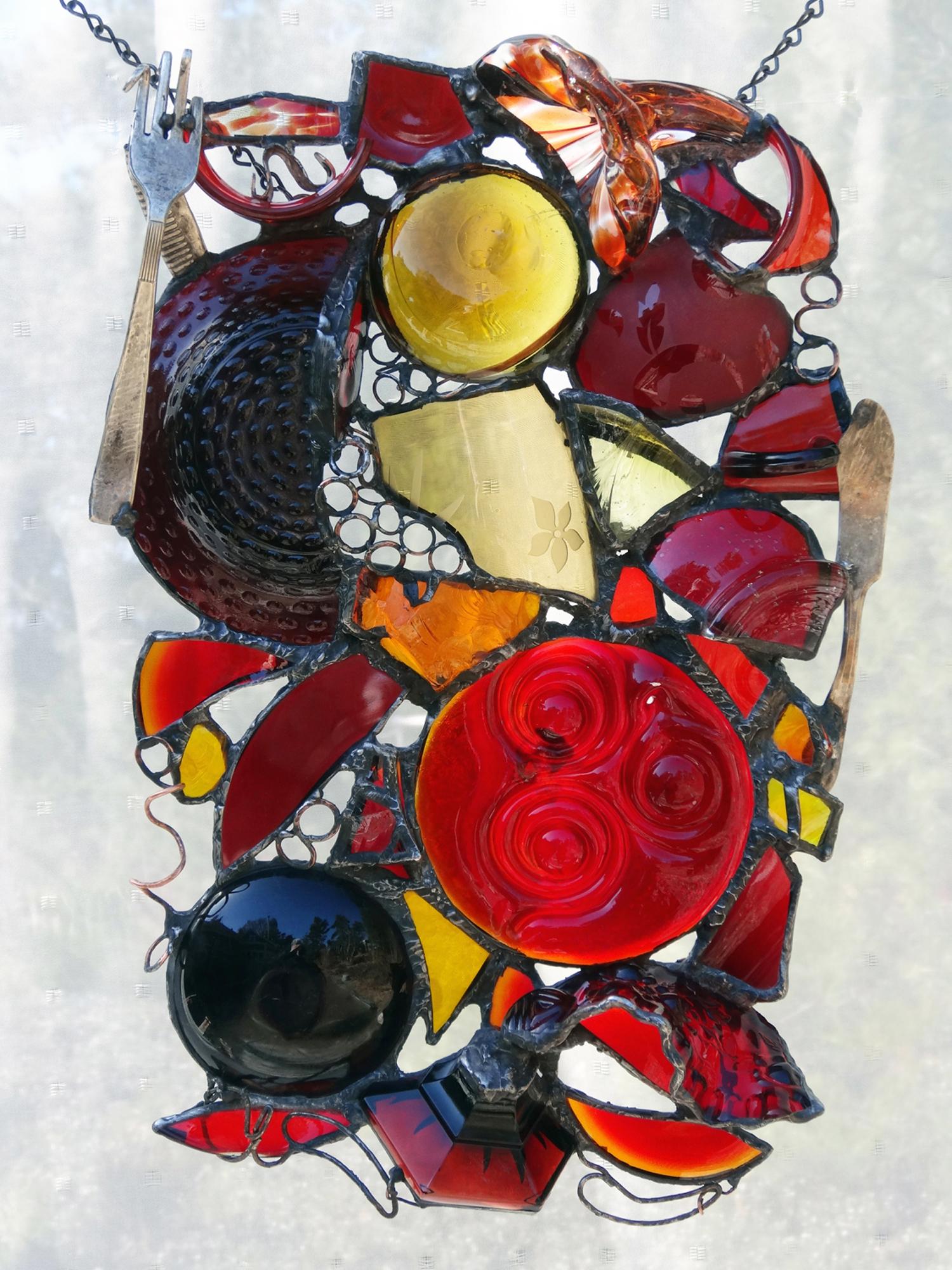 "BRILLIANT SUNSET ~ 17""x11"" Repurposed glass and metal"