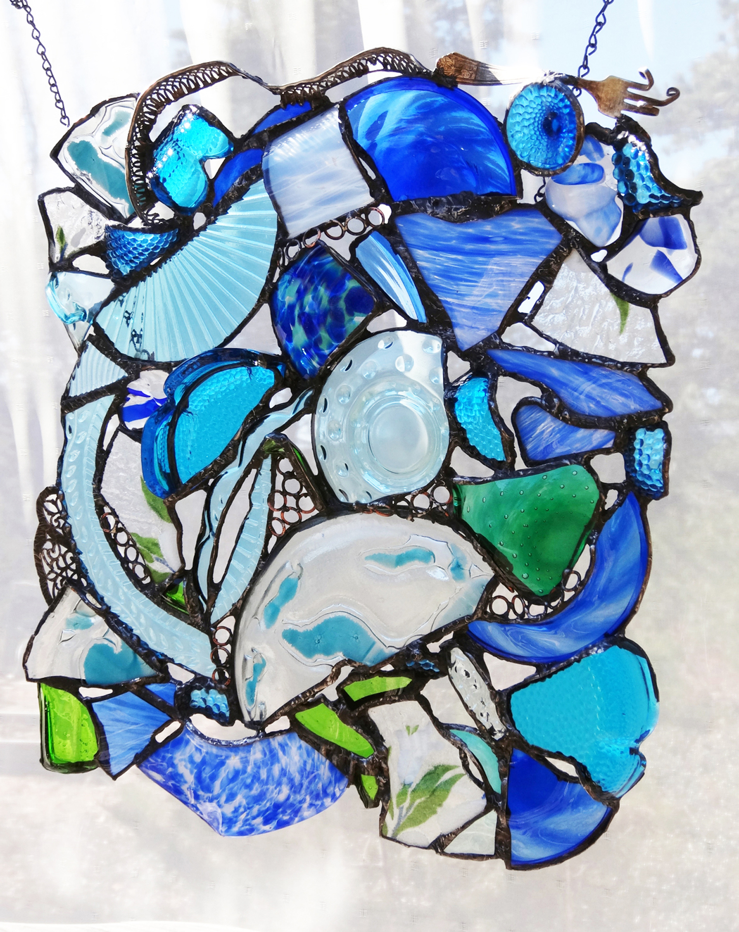 """OCEAN COLORS ~  21""""x18"""" Repurposed glass and silver (SOLD)"""