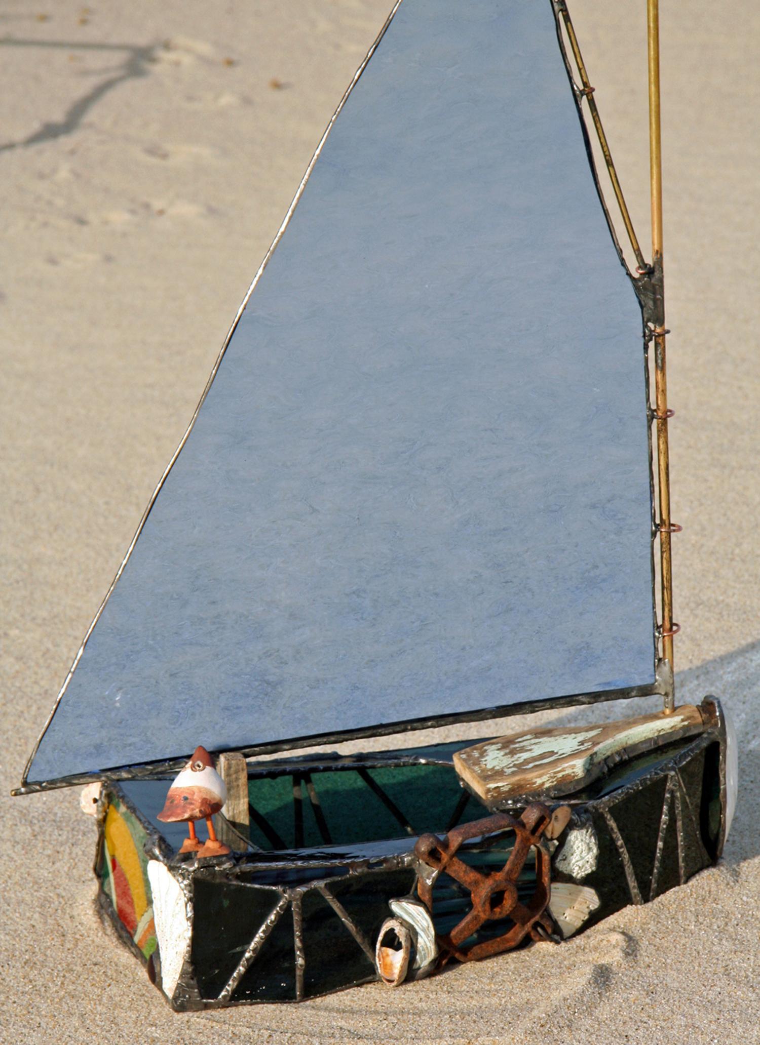 """CATFISH BOAT ~ 18""""X12"""" Repurposed glass, wood and metal"""