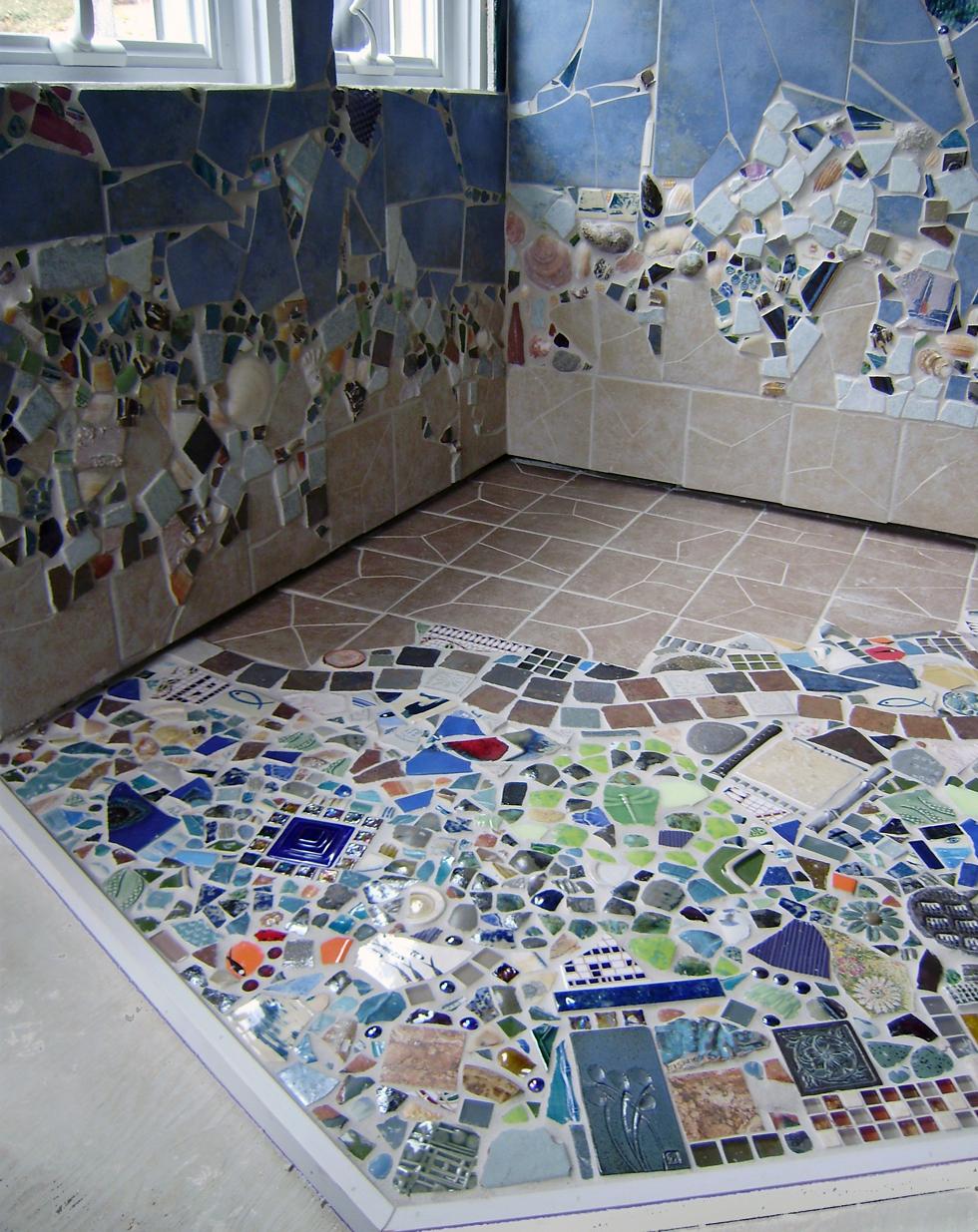 MOSAIC WOODSTOVE SURROUND ~ Repurposed pottery shards