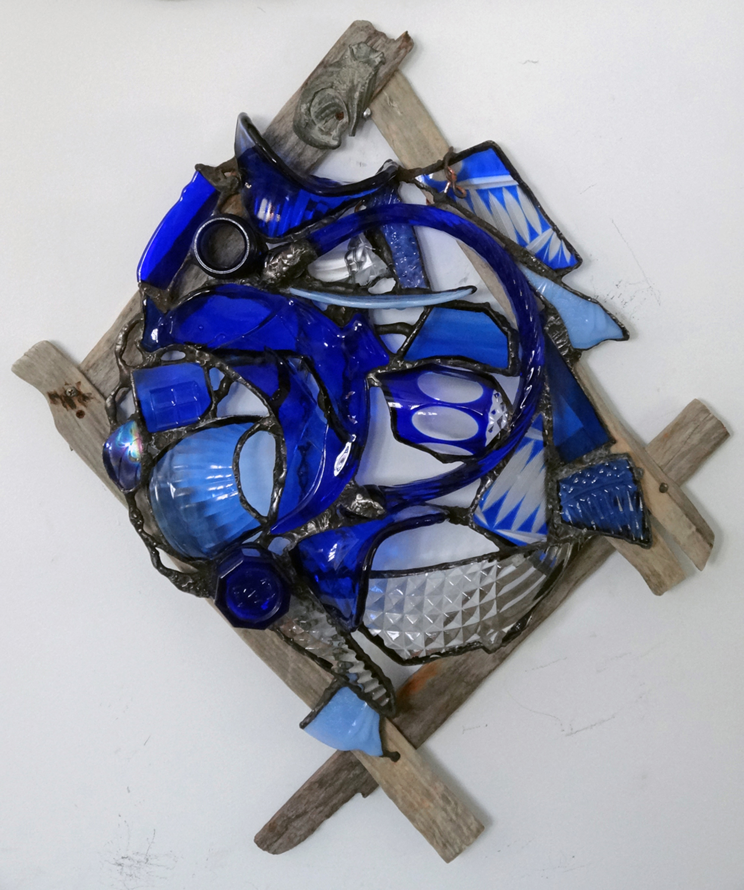 """FISH ~ 16""""X12"""" Repurposed glass and weathered beach fence lath"""