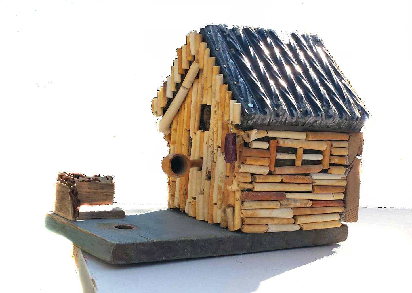 CLAY PIPE BIRDHOUSE ~ Repurposed clay pipes and wood