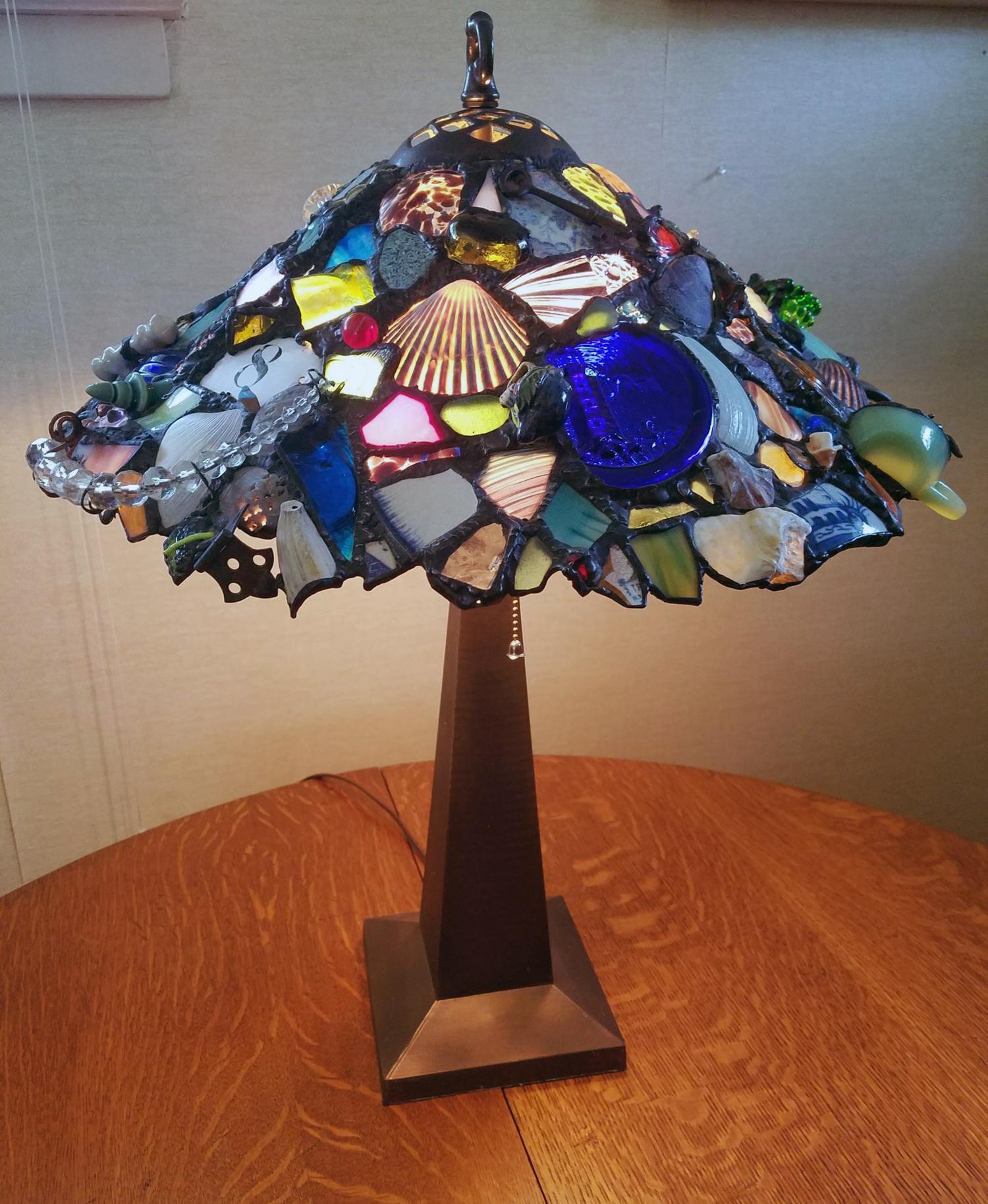 """HAPPY GRADUATION PAUL ~ 18"""" diam. Repurposed glass and client's treasures"""