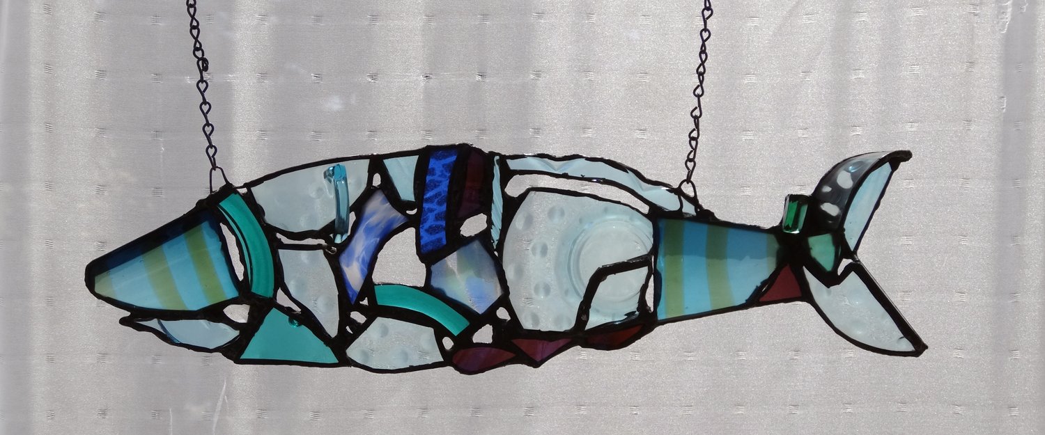 """STRIPED FISH ~ 8""""x20"""" Repurposed glass and metal"""