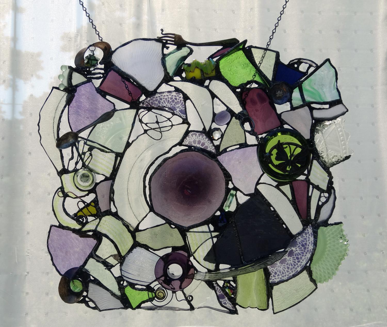 "QUIET GARDENS ~ 21""x23"" Repurposed glass and metal"