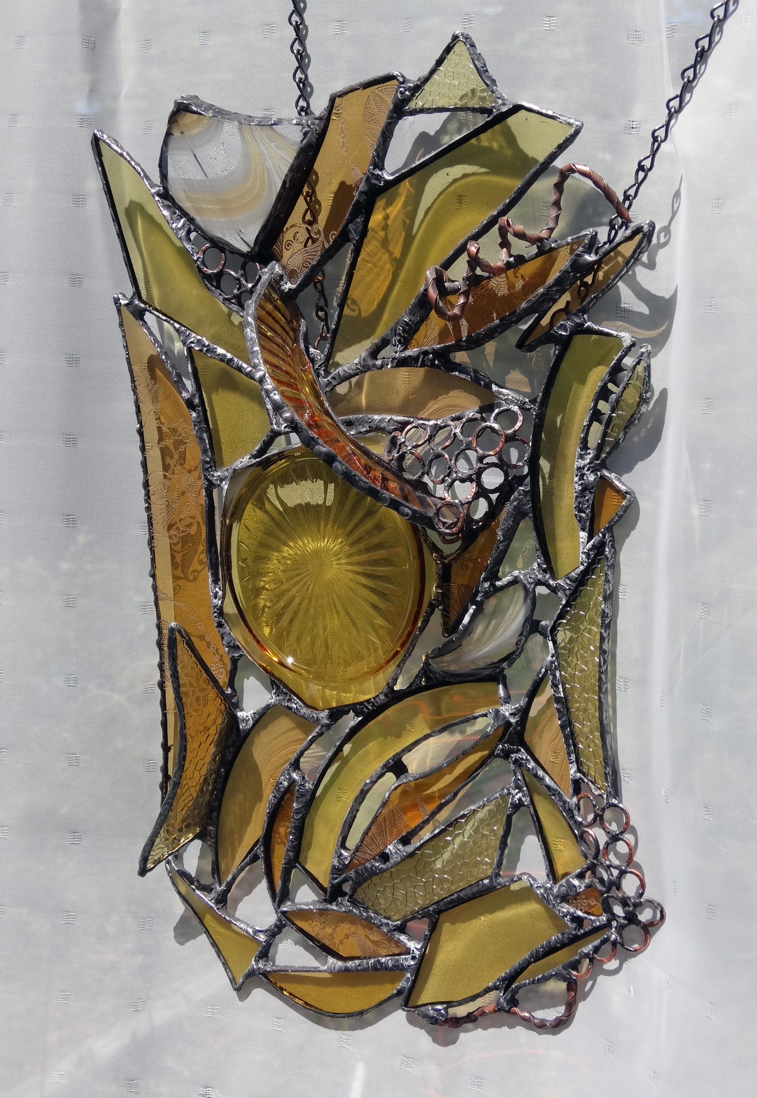 """SUNSHINE ~ 17""""x11"""" Repurposed glass and hand-forged metal"""