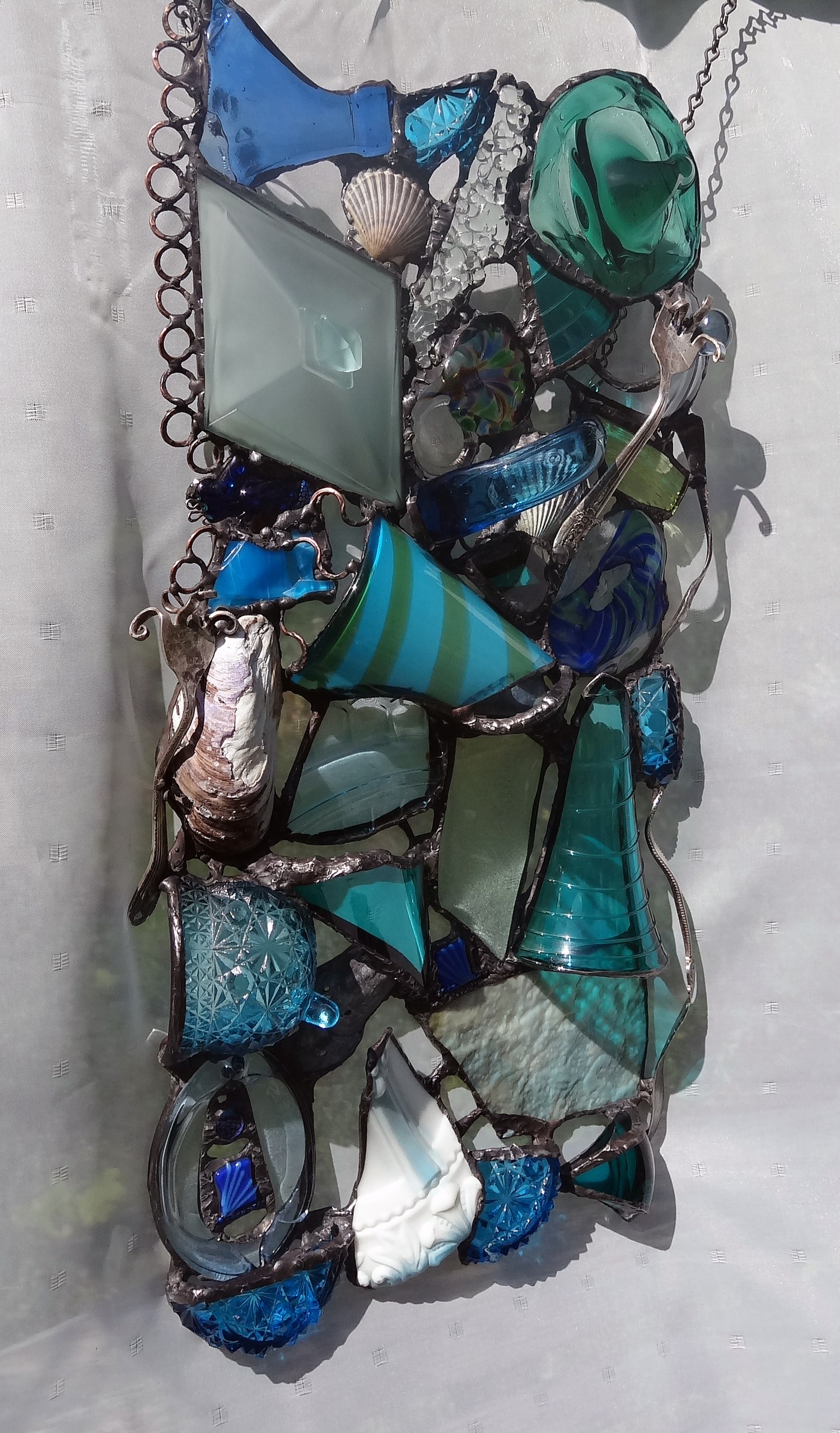 """AQUA MARINE ~ 21""""X10"""" Repurposed glass and hand-forged metal (SOLD)"""