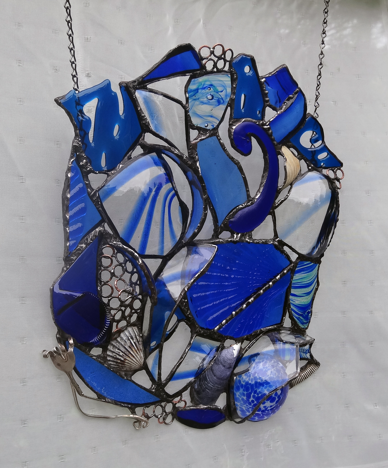 """SOFTNESS ~ 17""""X14""""  Repurposed glass and hand-forged metal (SOLD)"""