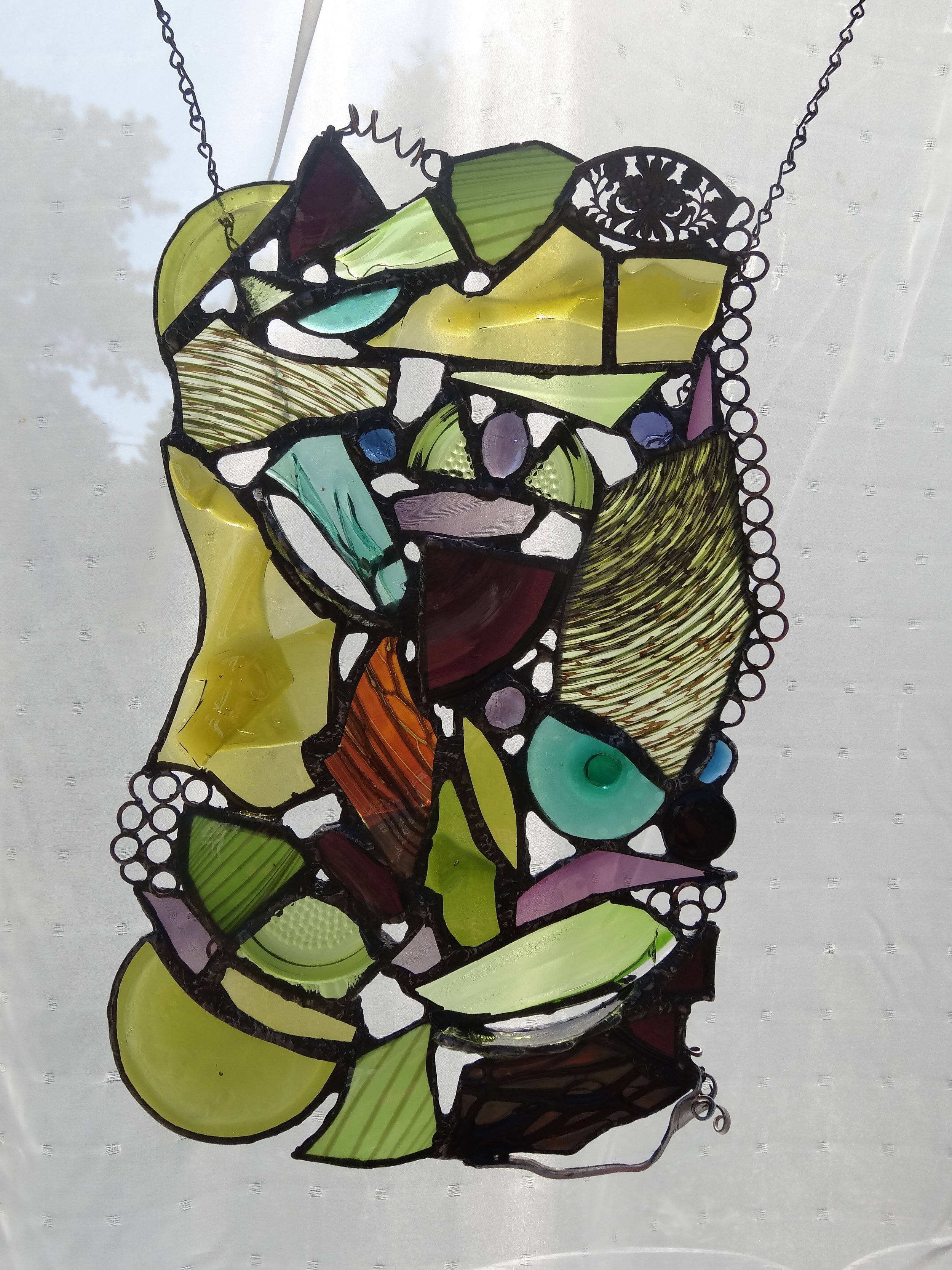 """EVER CHANGING ~ 19""""x11"""" Repurposed glass and hand-forged metal (SOLD)"""