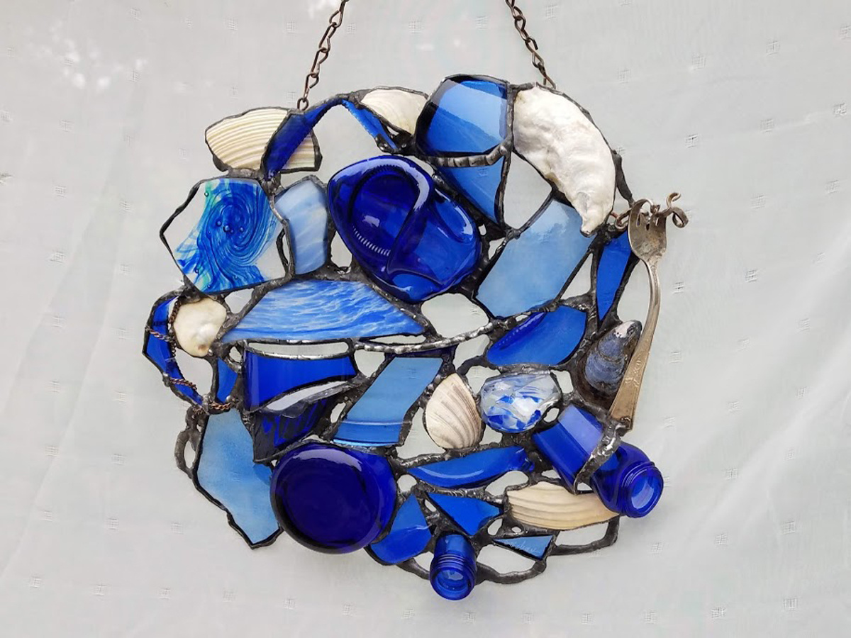"""WATER REFLECTION~12""""X12"""" Repurposed glass, beach shells and metal"""