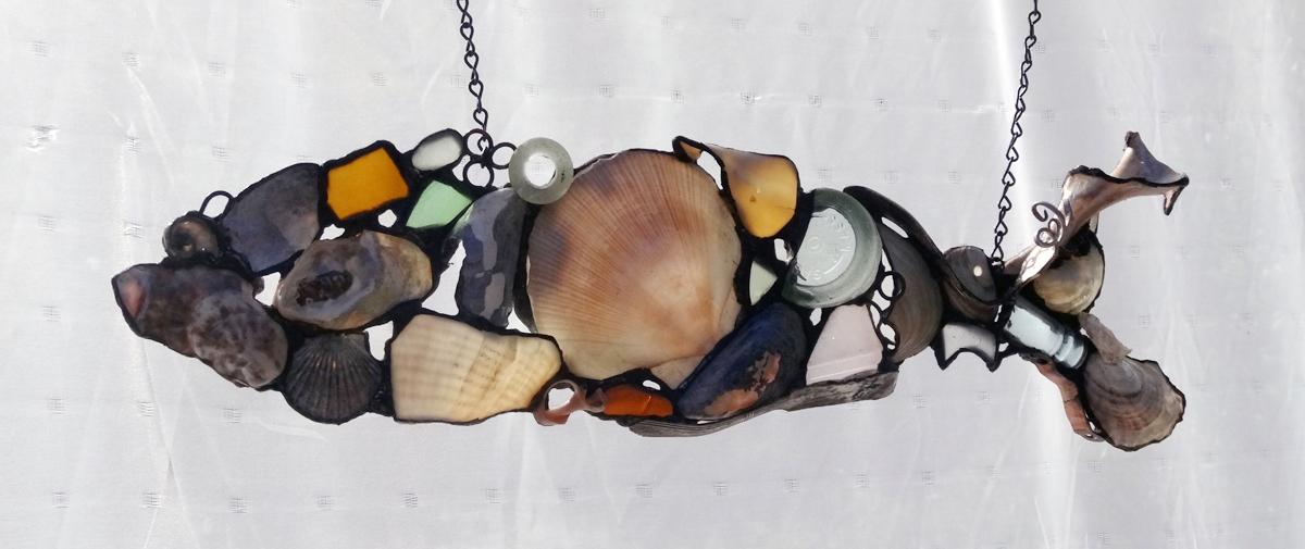 "SHELL FISH 2 ~ 6""X22"" Repurposed beach shells,  beach glass and metal"