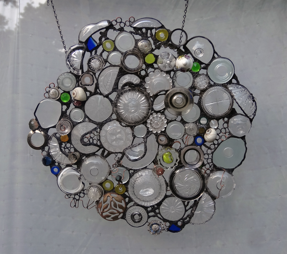 """ENDLESS CIRCLES~21""""X21"""" Recycled glass and hand-forged metal"""