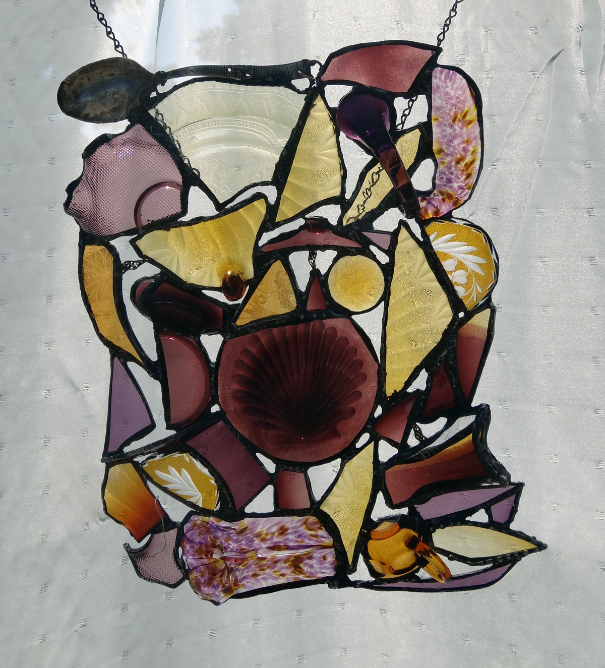 """YESTERDAYS TREASURES ~ 18""""X14"""" Repurposed glass and hand-forged metals"""